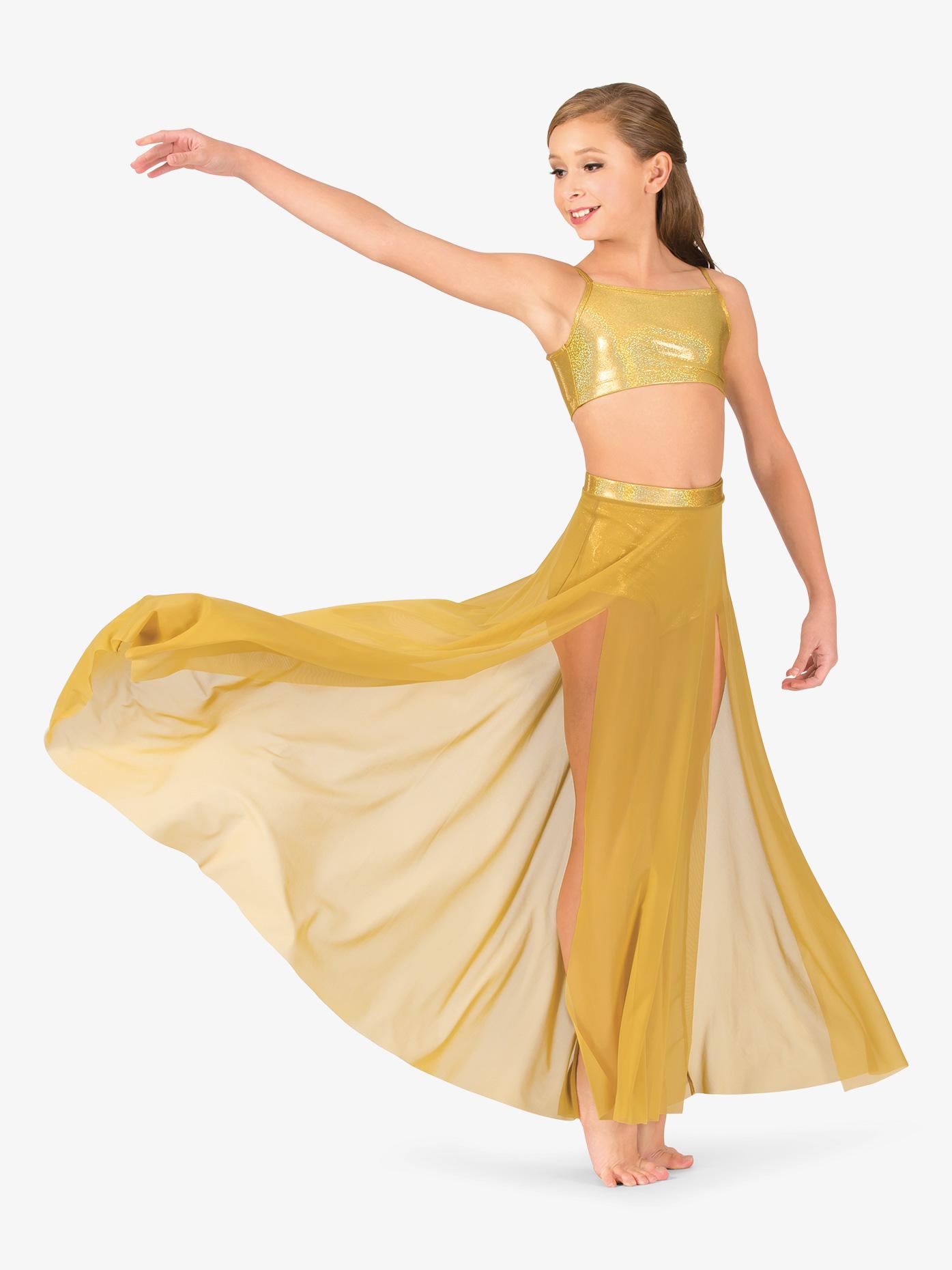 Ingenue Girls Mesh Side Slit Performance Skirt ING137C