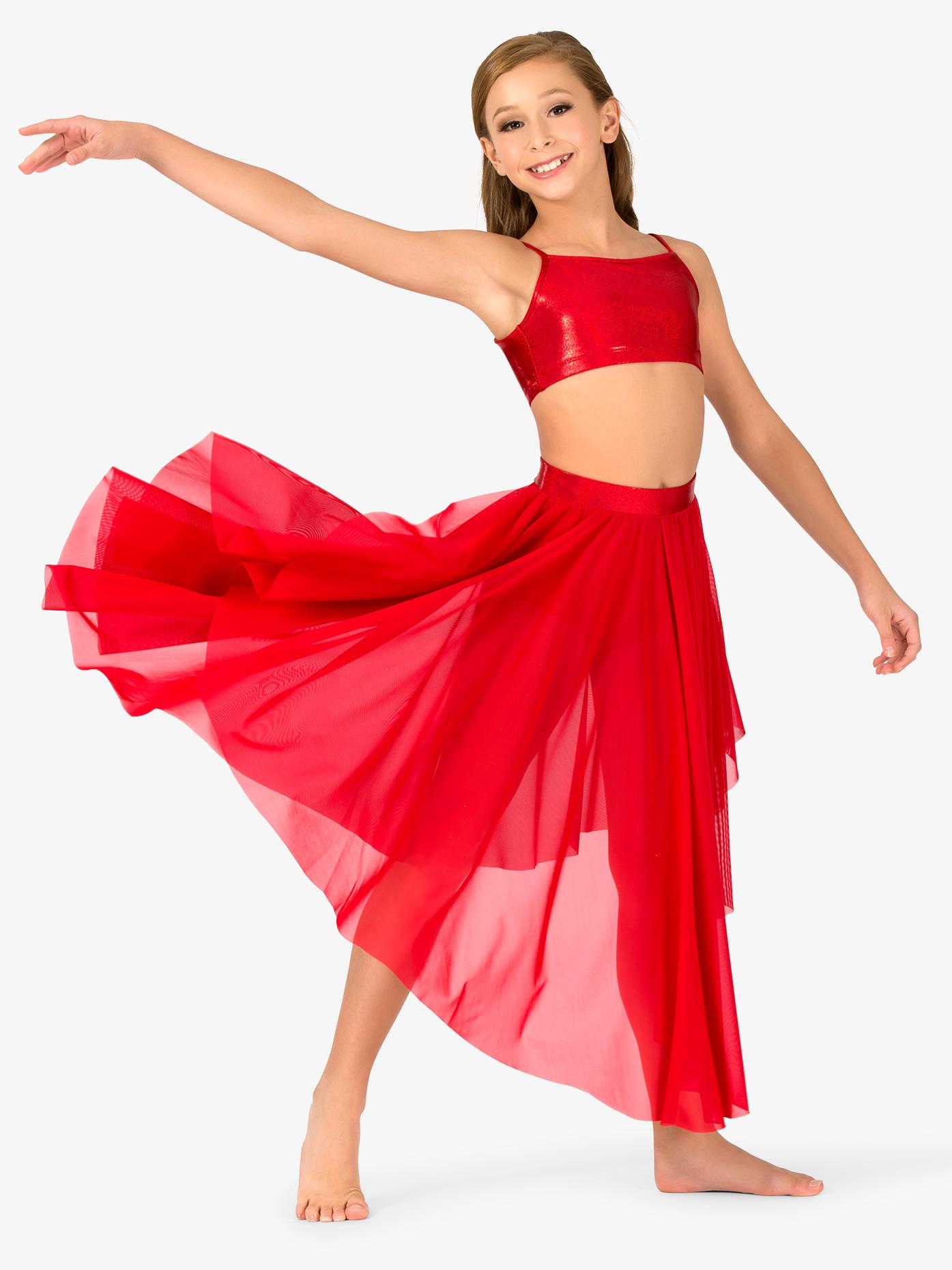 Ingenue Girls Iridescent Waistband Performance Asymmetrical Skirt ING138C