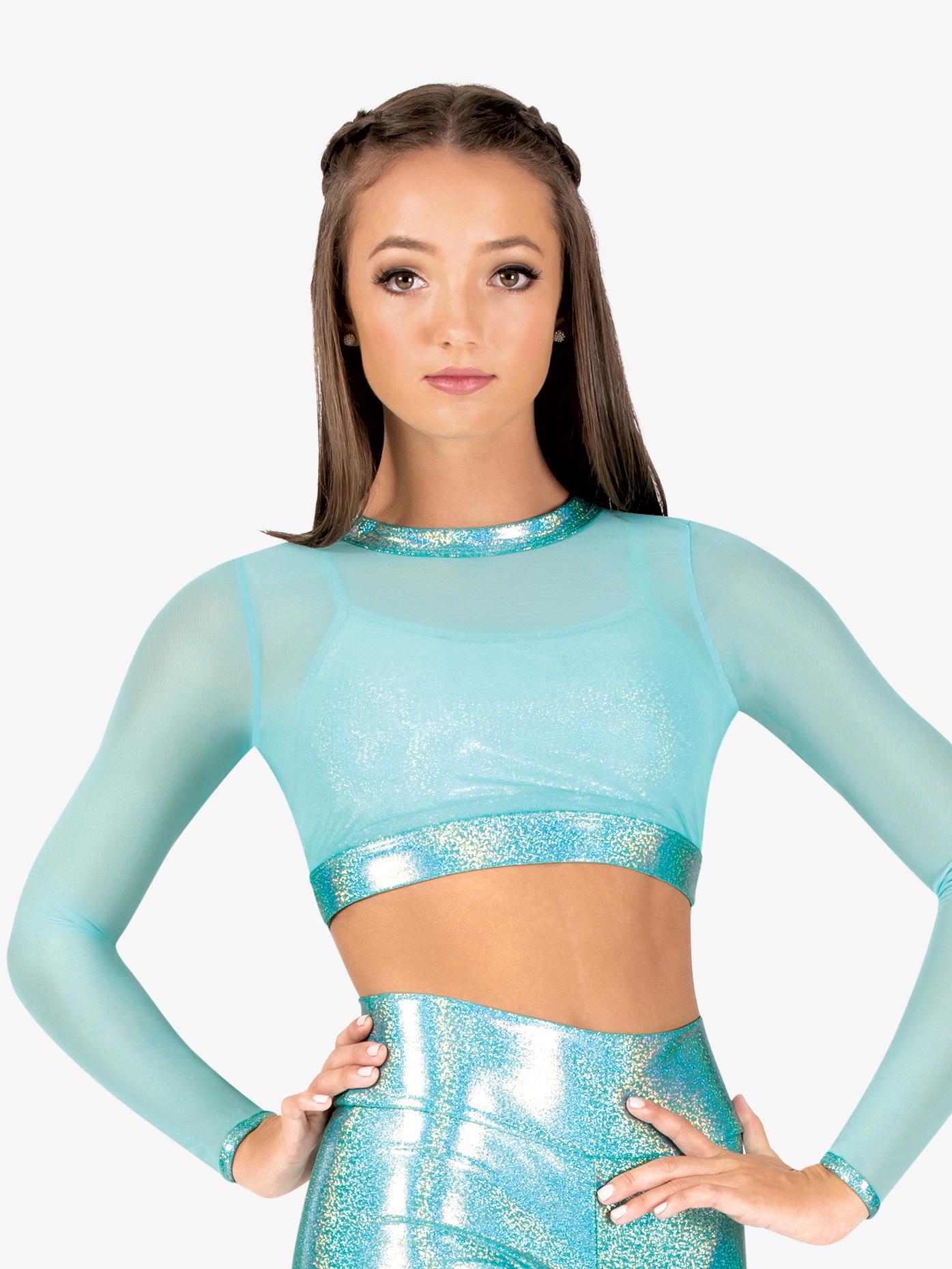 Ingenue Womens Mesh Iridescent Performance Long Sleeve Crop Top ING142