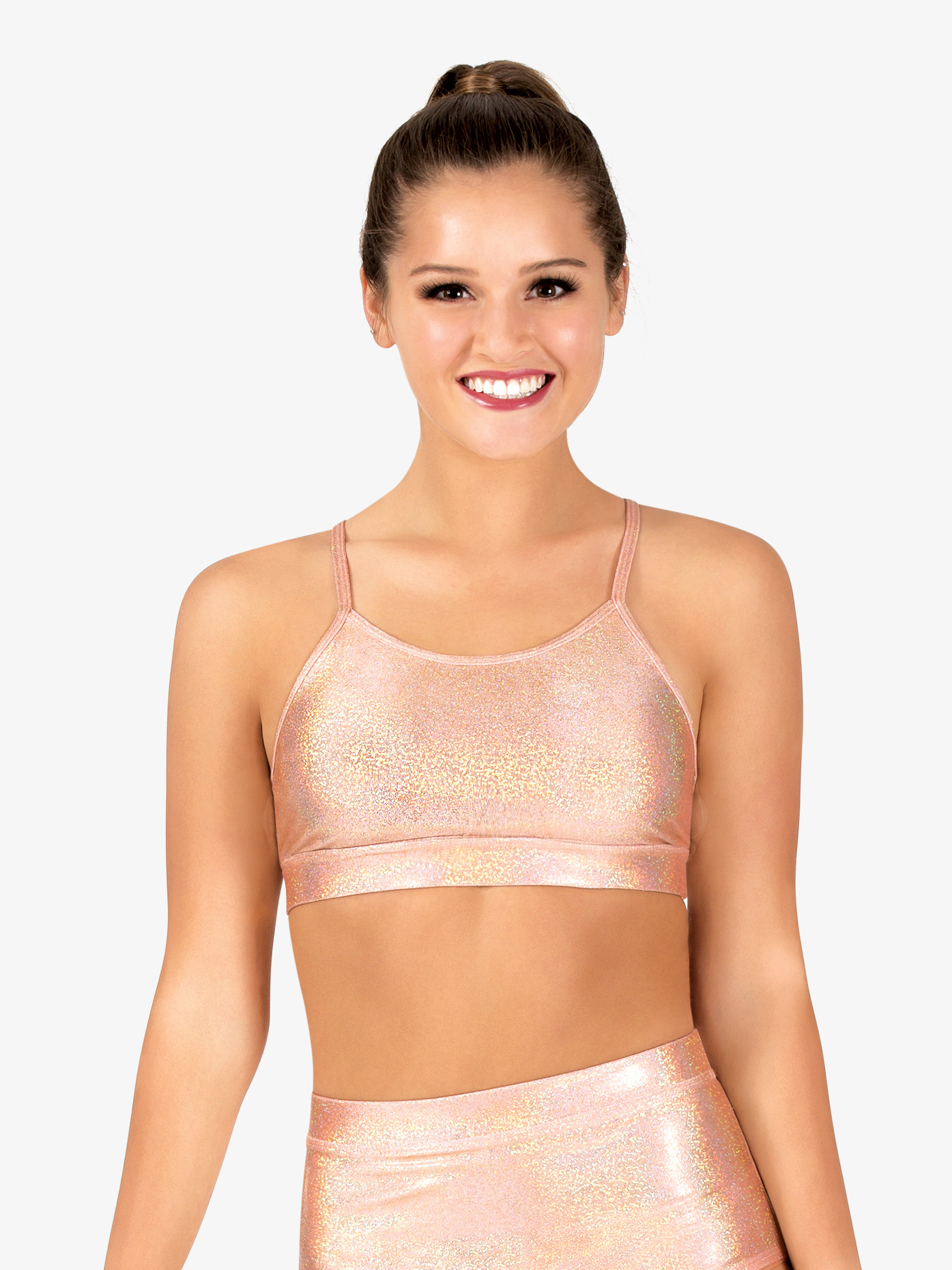 Ingenue Womens Iridescent Performance Strappy Back Bra Top ING143