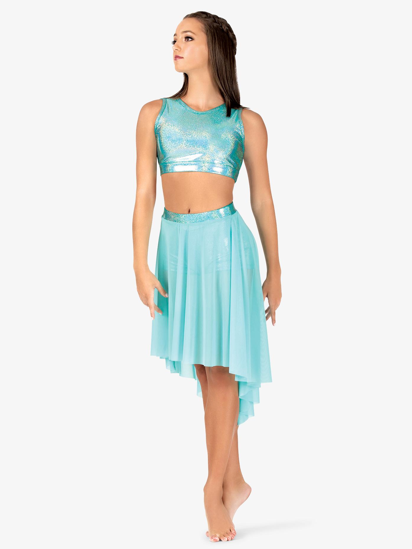 Ingenue Womens Iridescent Waistband Performance High-Low Skirt ING146