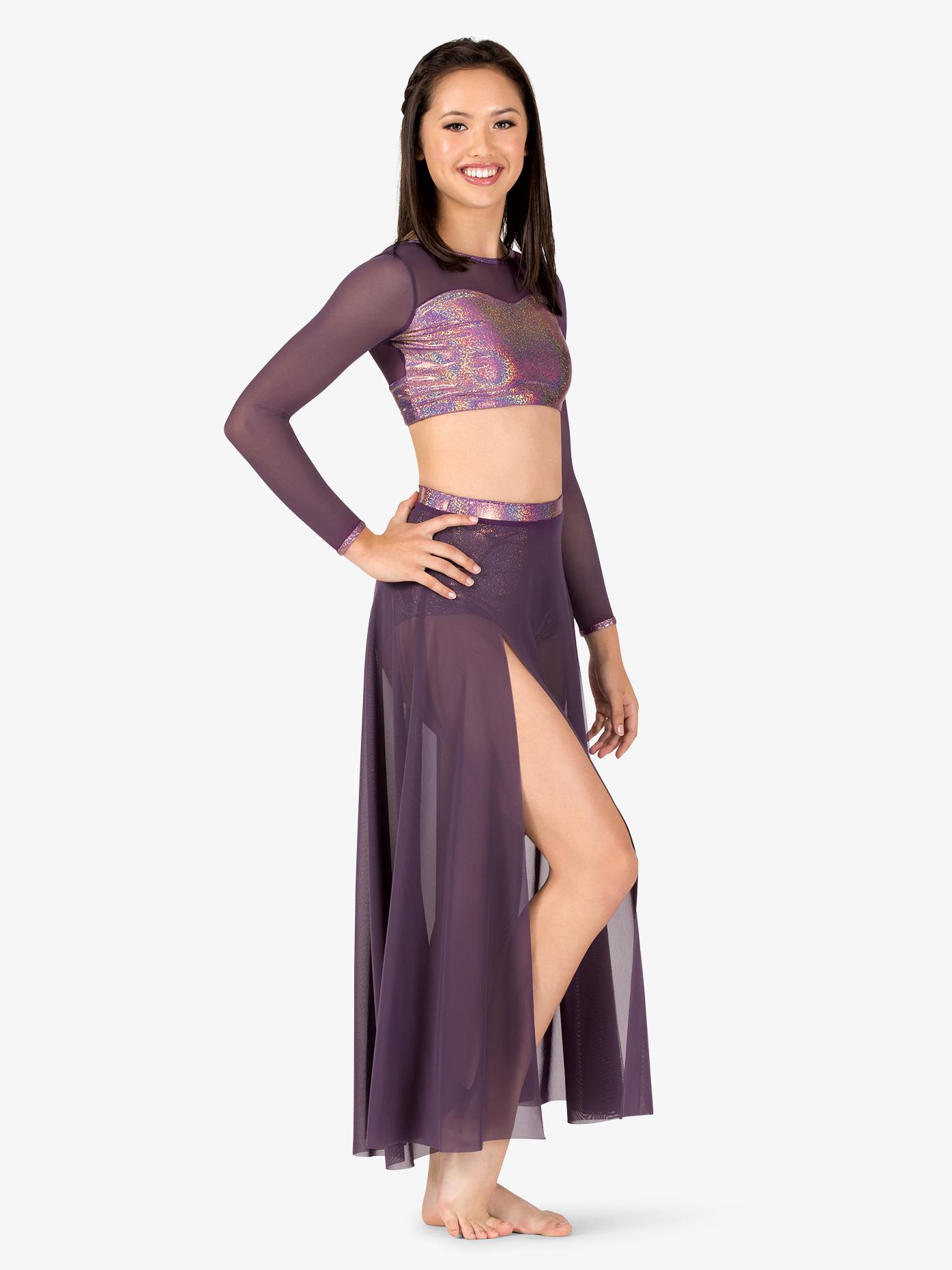 Ingenue Womens Iridescent Performance Long Mesh Skirt ING147