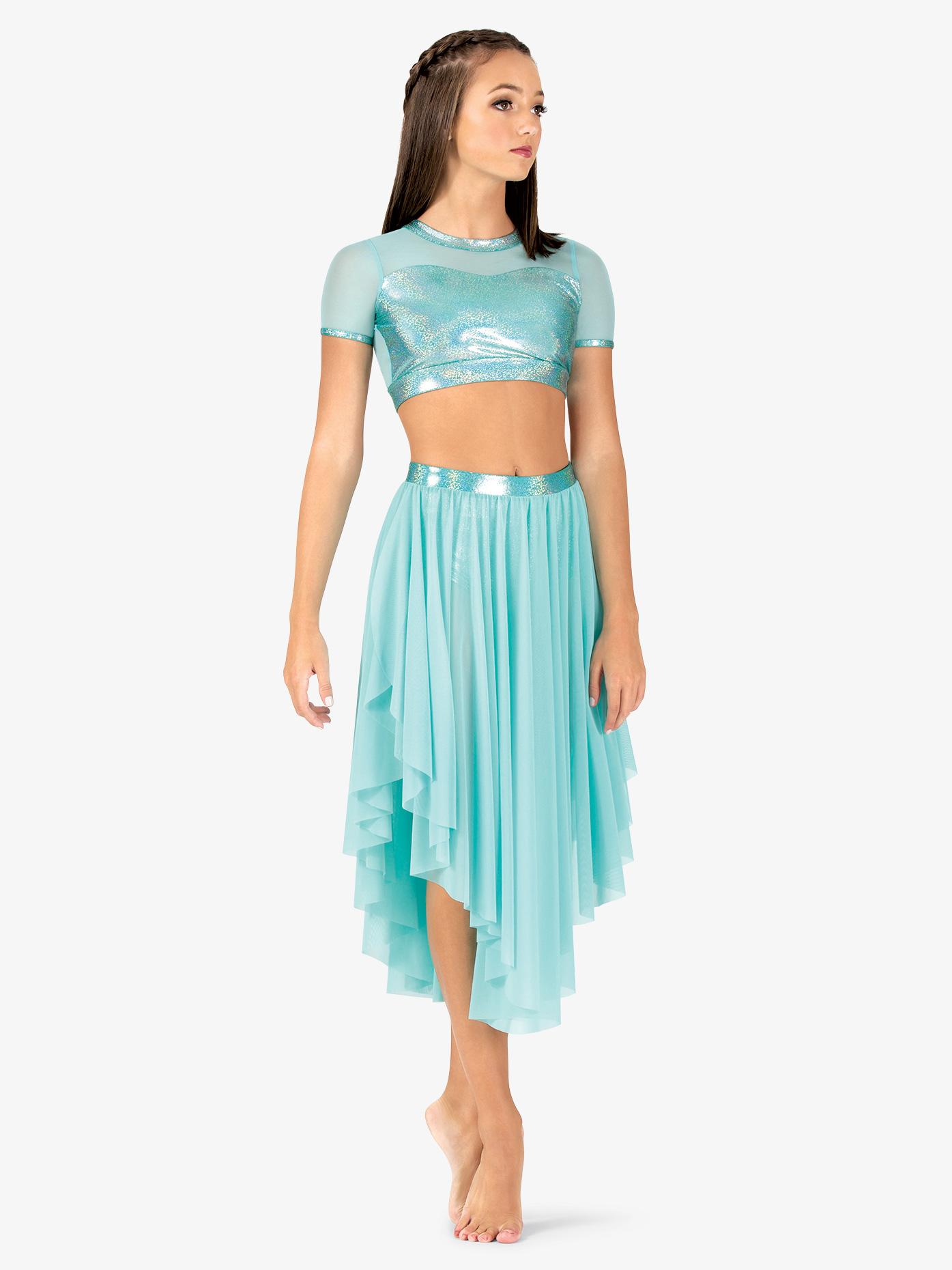Ingenue Womens Iridescent Waistband Performance Asymmetrical Skirt ING149