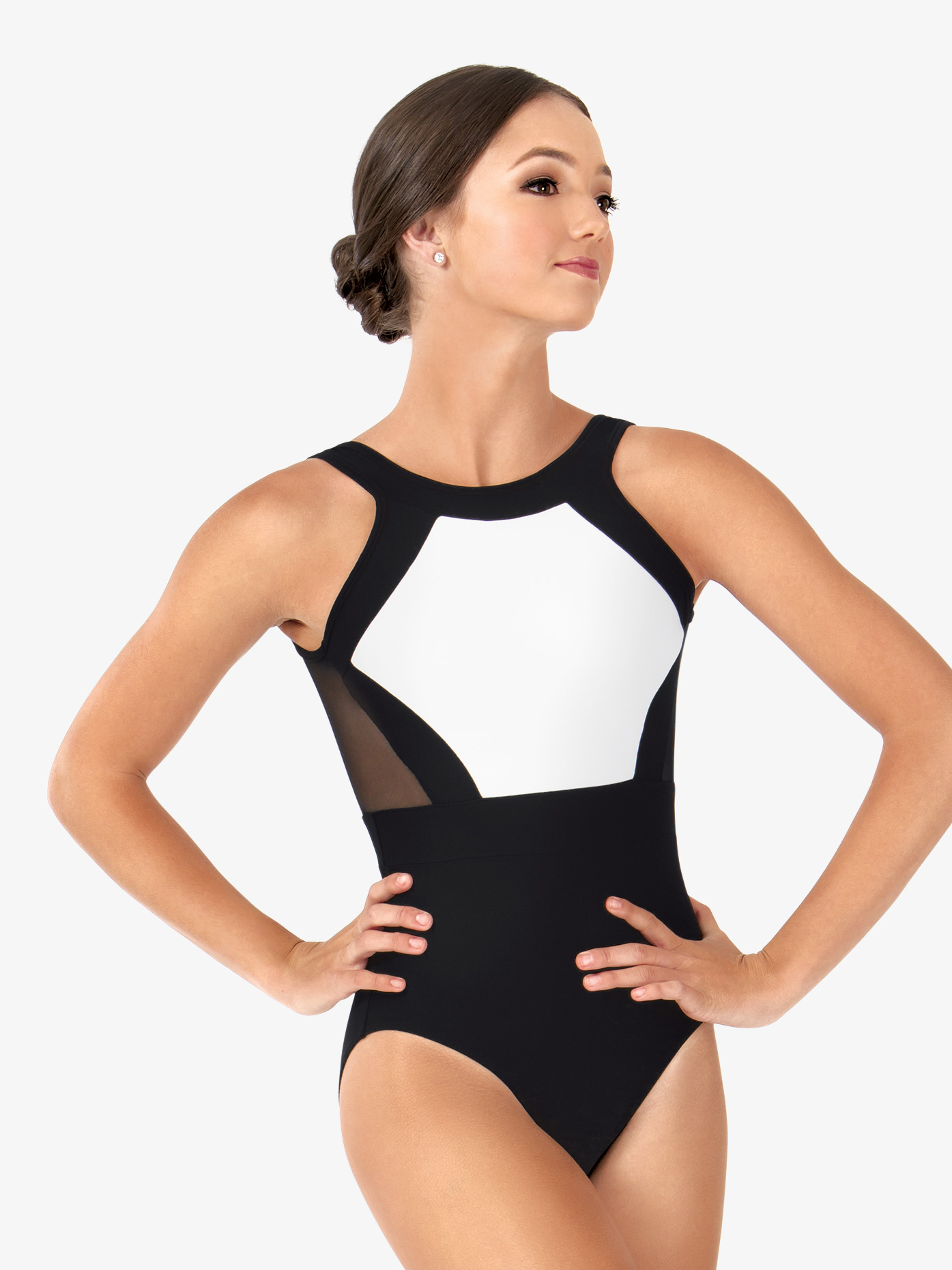 So Danca Womens Mesh Back Two-Tone Modern Tank Leotard L1180