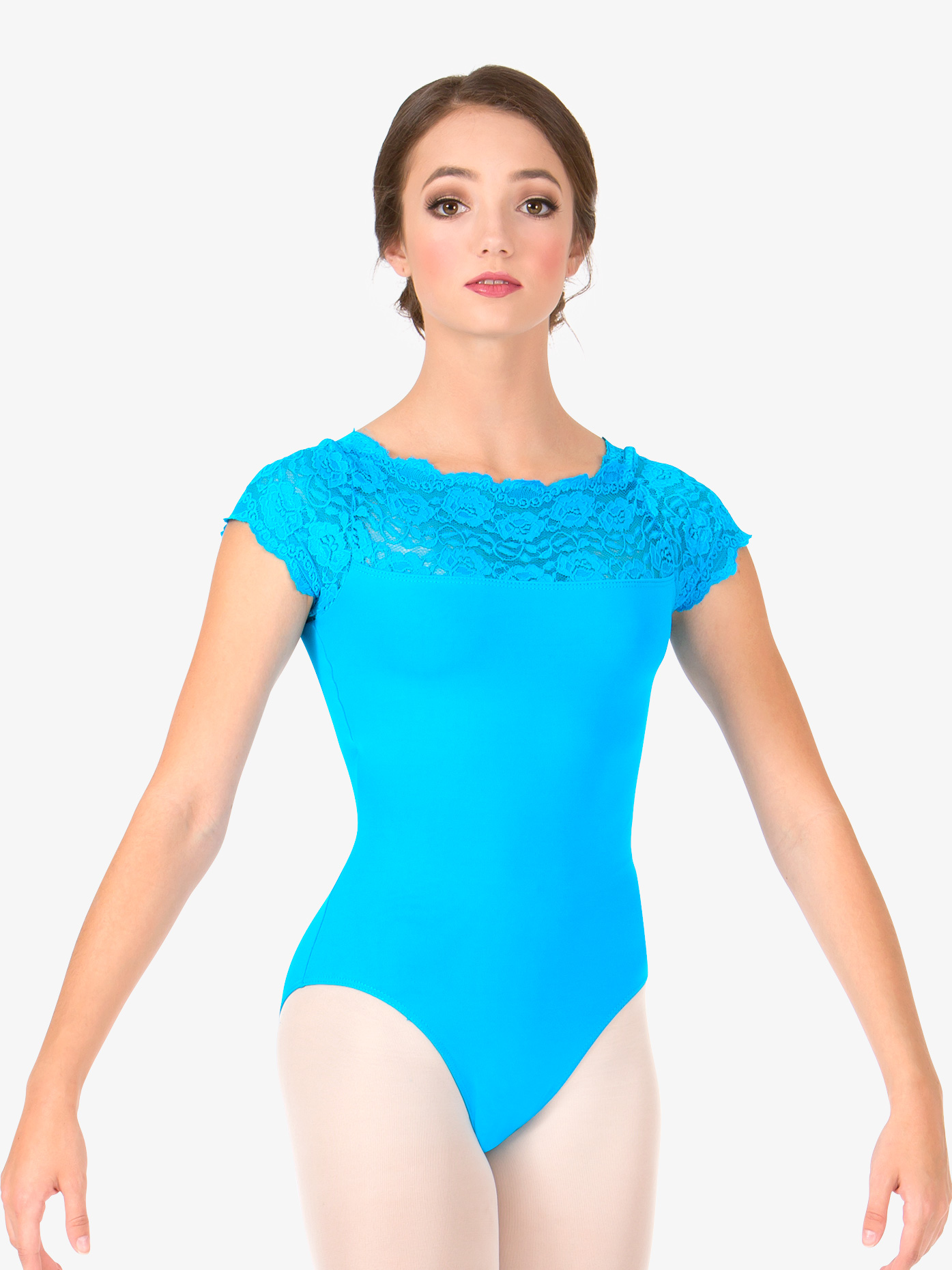 So Danca Adult Suzanne Lace Short Sleeve Leotard L534