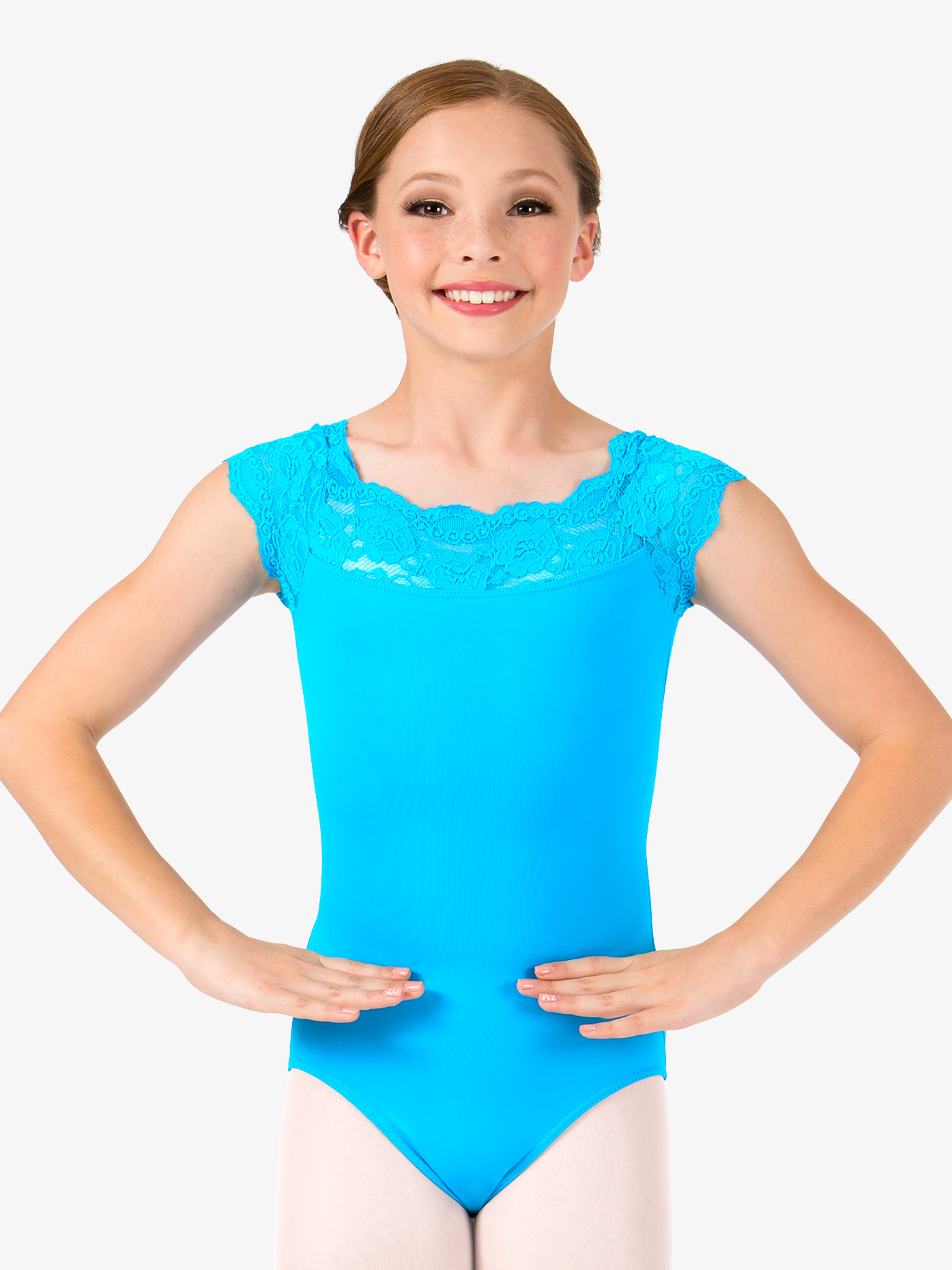 So Danca Girls Suzy Lace Short Sleeve Leotard L535C