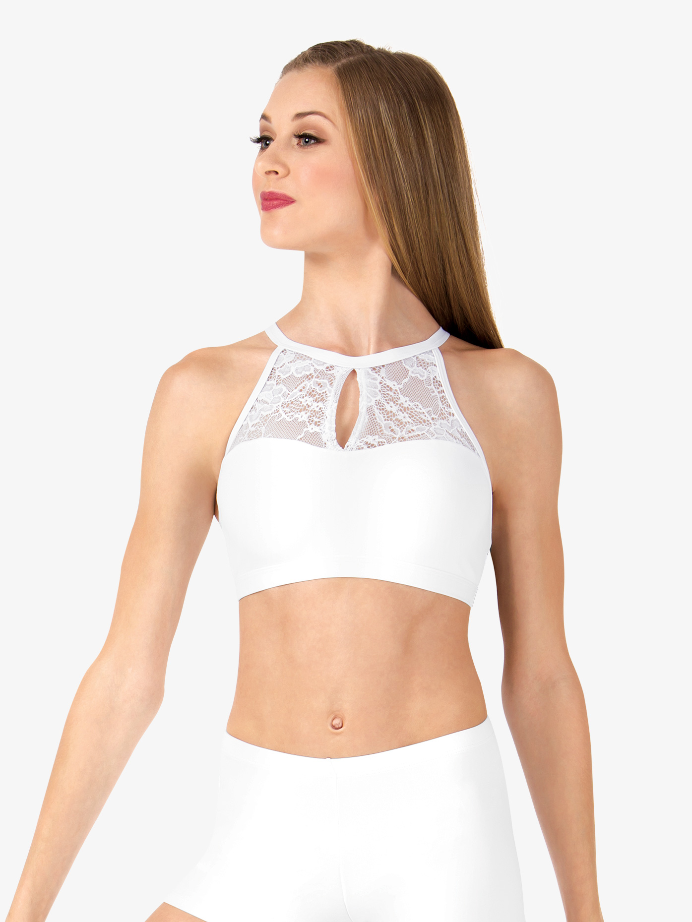 Body Wrappers Adult Keyhole Halter Lace Dance Crop Top LC9024