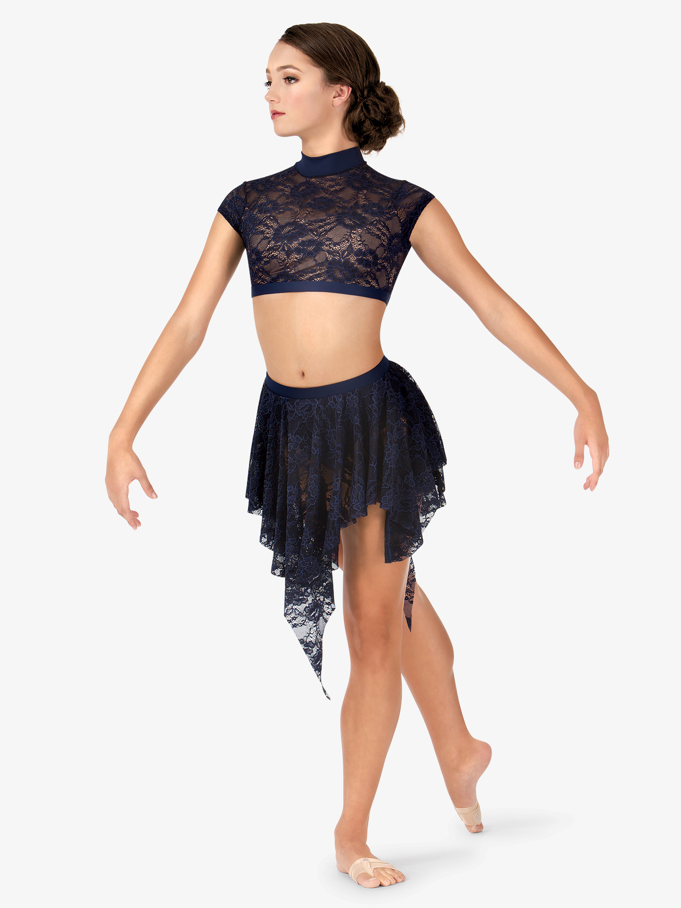 Body Wrappers Adult Uneven Hem Drapey Lace Dance Skirt LC9109