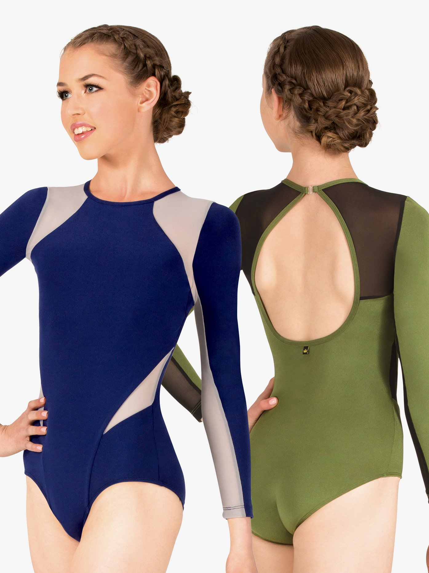 Mariia Thea Mesh Insert Long Sleeve Leotard ME564
