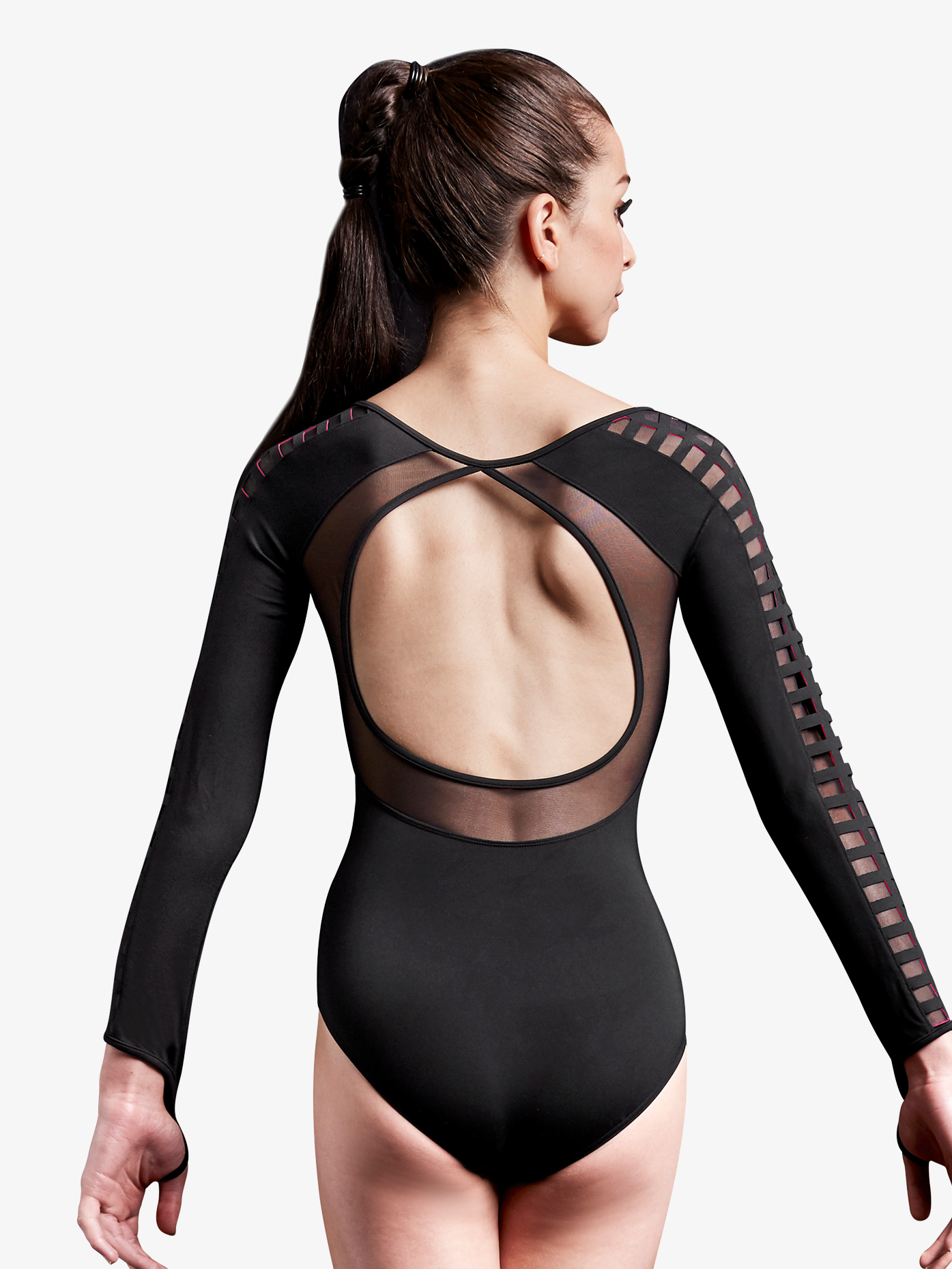 Jozette for Mirella Womens Laser Cut Mesh Long Sleeve Leotard MJ7208