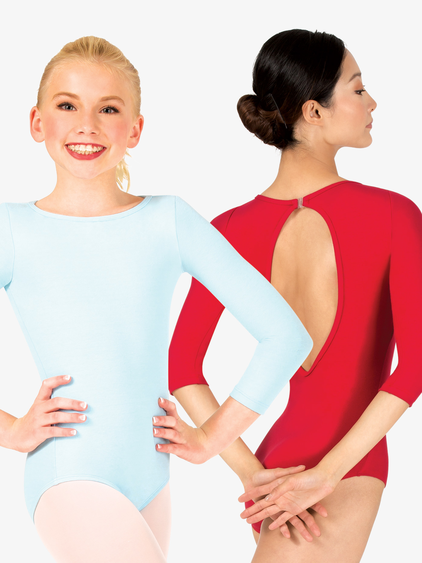 419ad017e698 Sueded Cotton Boat Neck 3 4 Sleeve Leotard - Long Sleeves