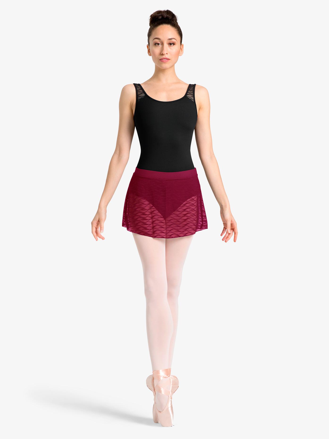 Mirella Womens Sheer Wave Mesh Ballet Skirt MS109
