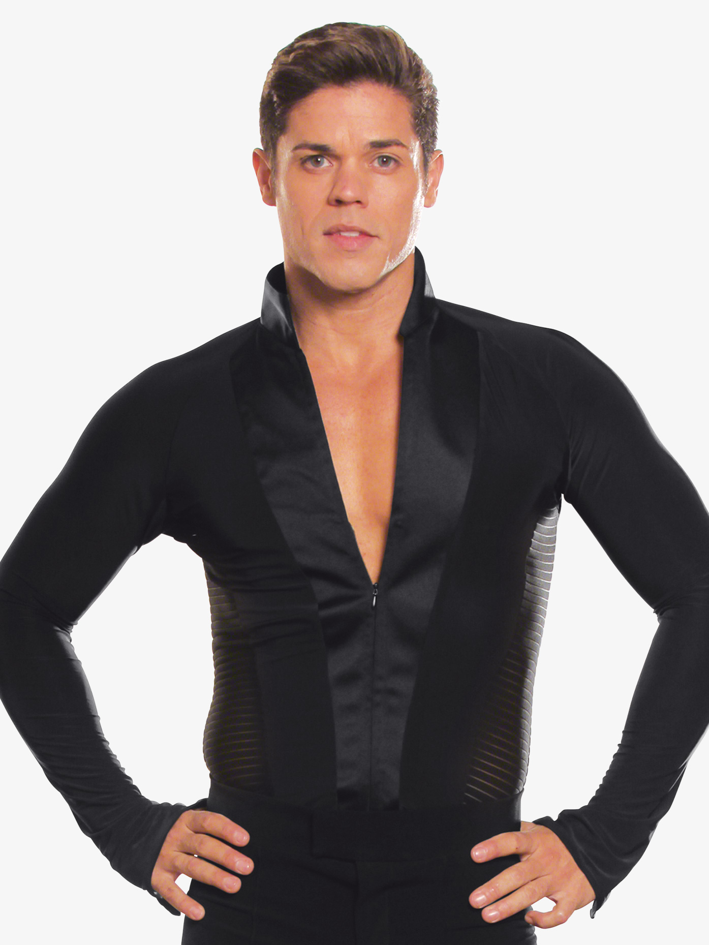 Dance America Mens Striped Long Sleeve Ballroom Leotard MS21