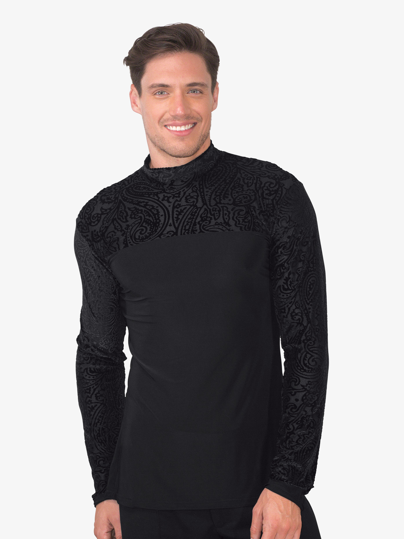 Dance America Mens Mock Neck Velvet Front Ballroom Top MS32