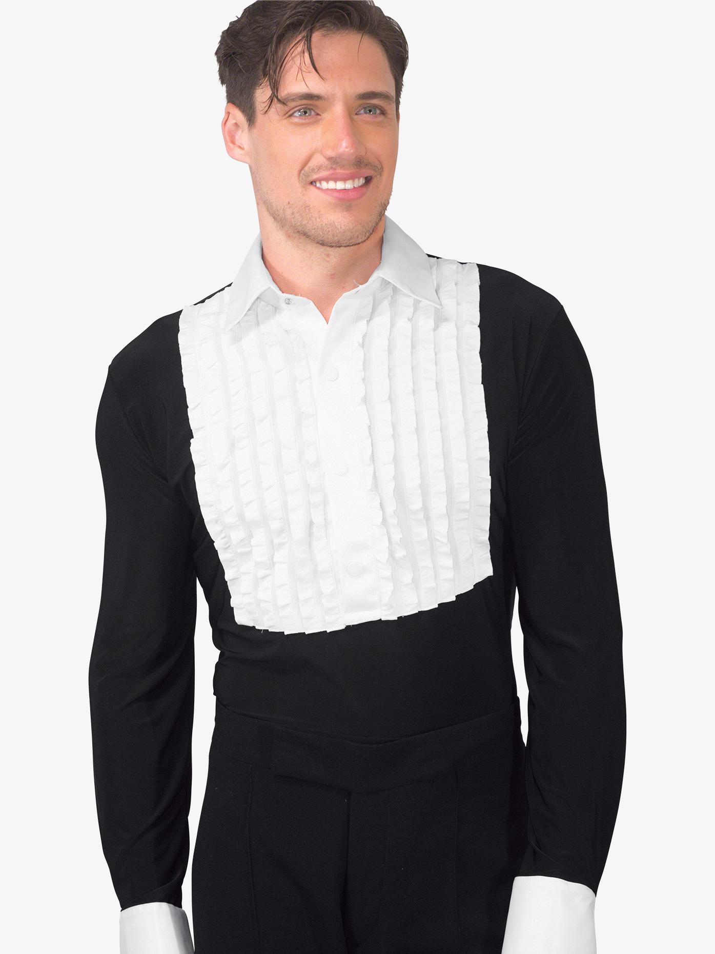 Dance America Mens Ruffled Tuxedo Style Ballroom Leotard MS33