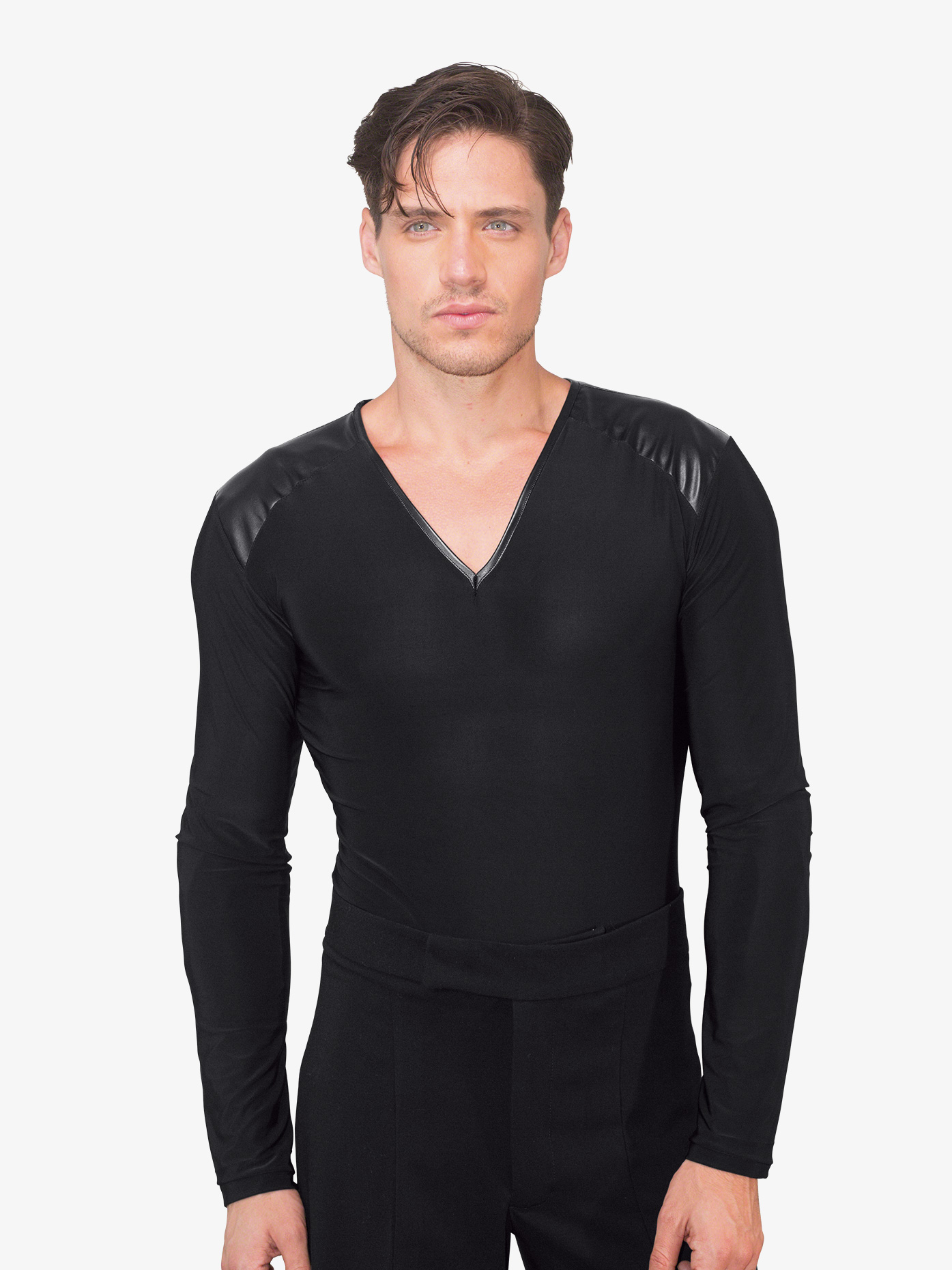 Dance America Mens V-Neck Faux Leather Insert Ballroom Leotard MS36