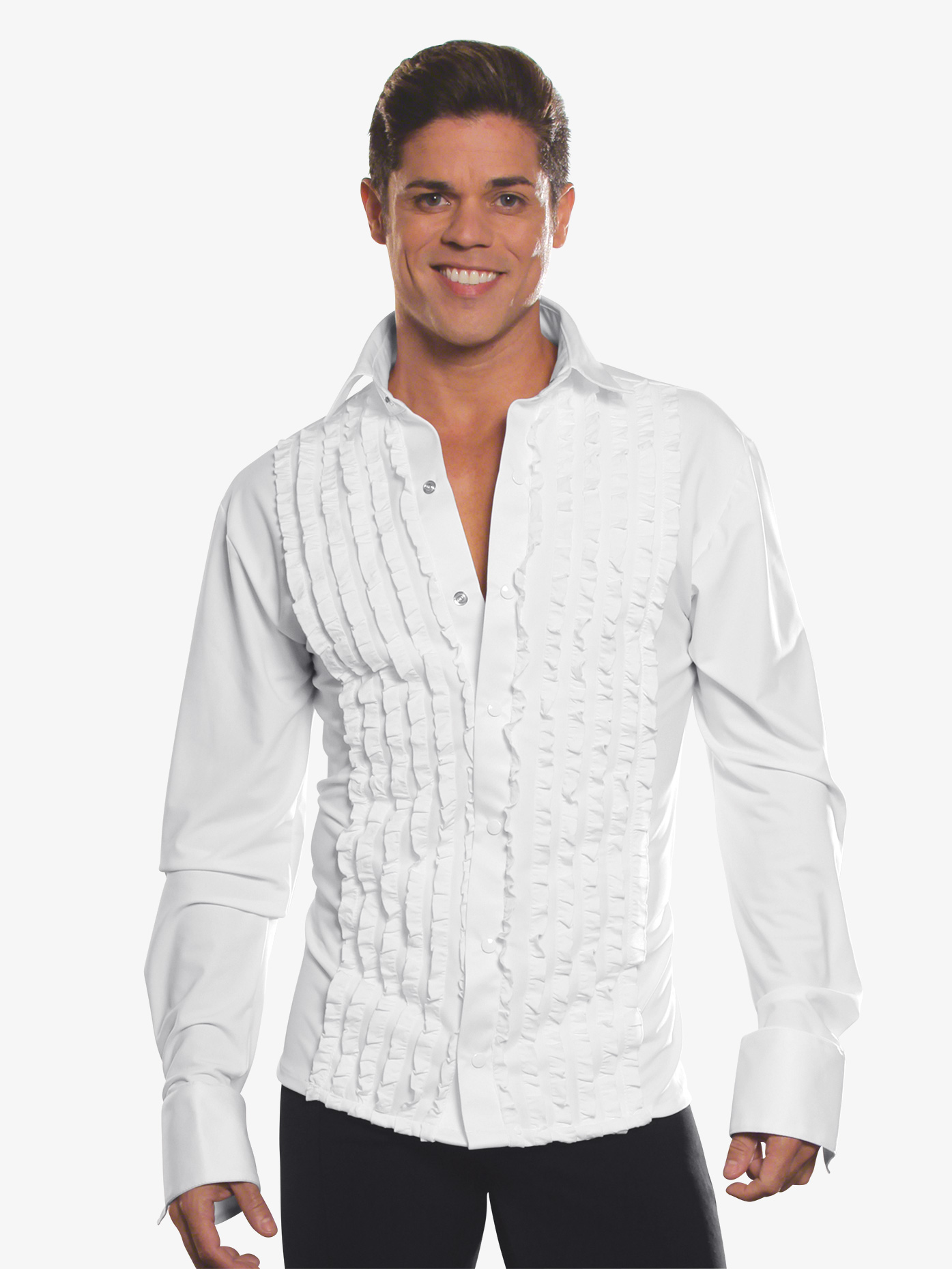 Dance America Mens Ruffled Long Sleeve Ballroom Top MS8A