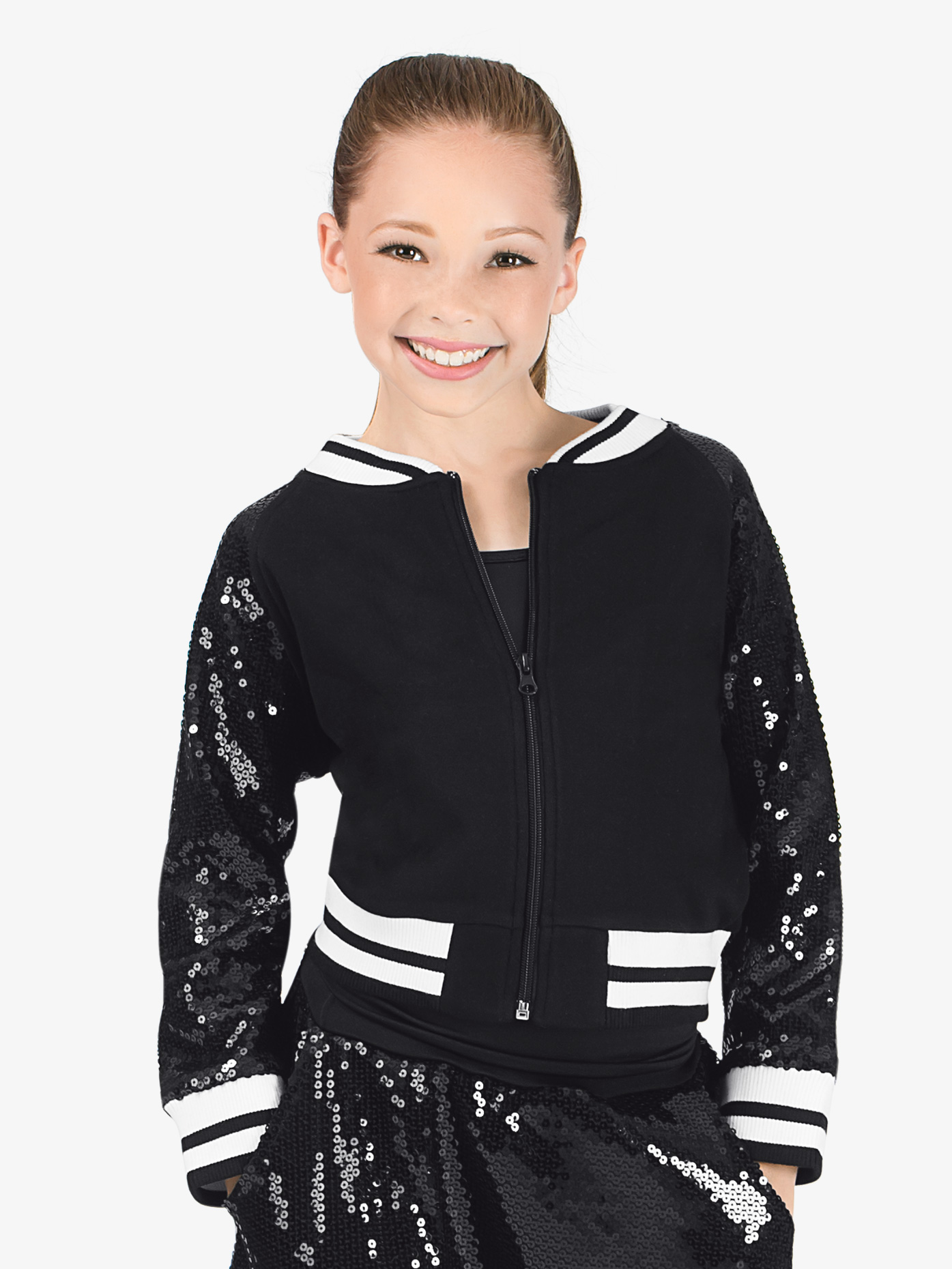 Double Platinum Girls Sequin Varsity Jacket N7218C