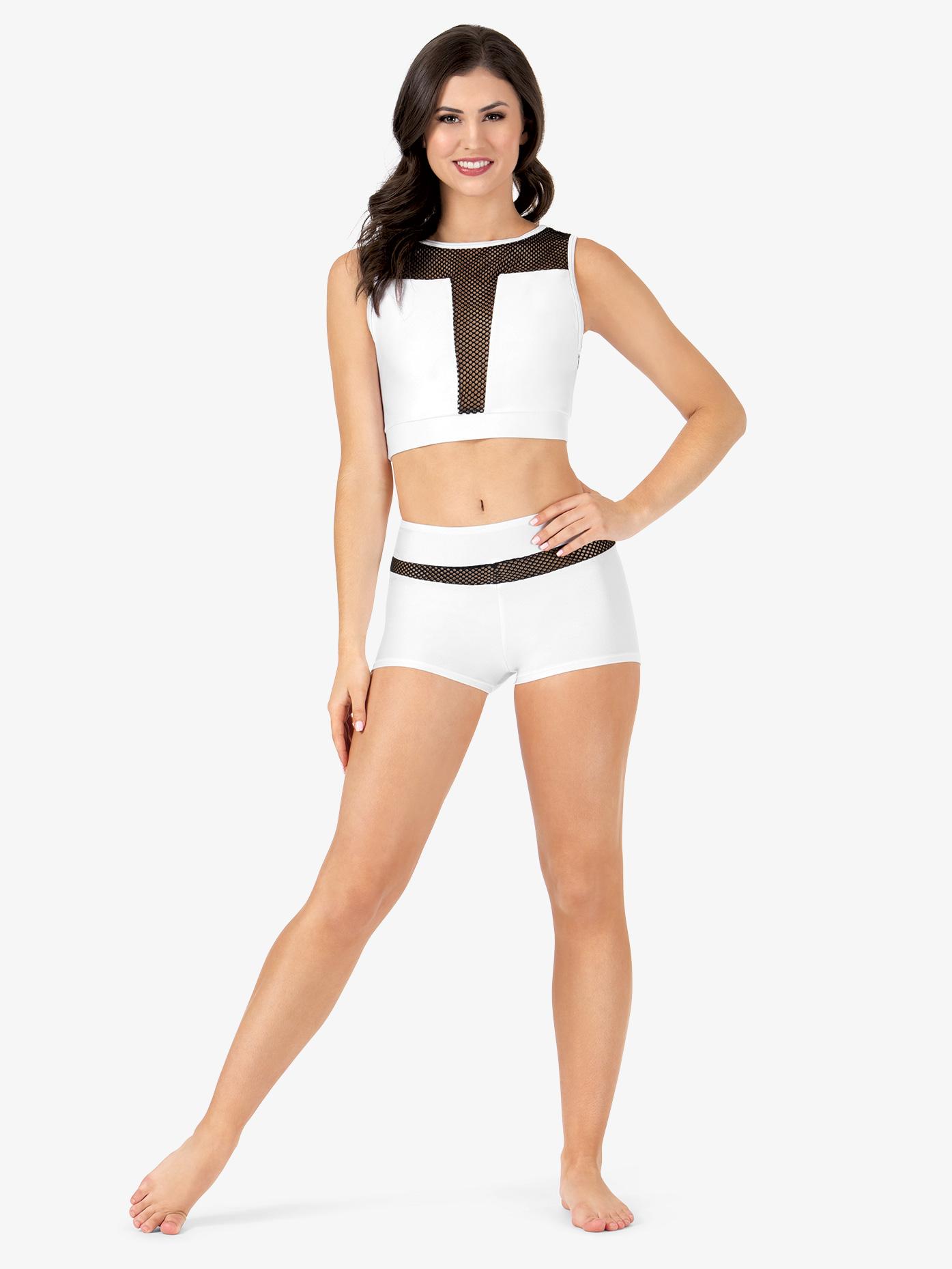 Double Platinum Womens Mesh Inset Dance Shorts N7230