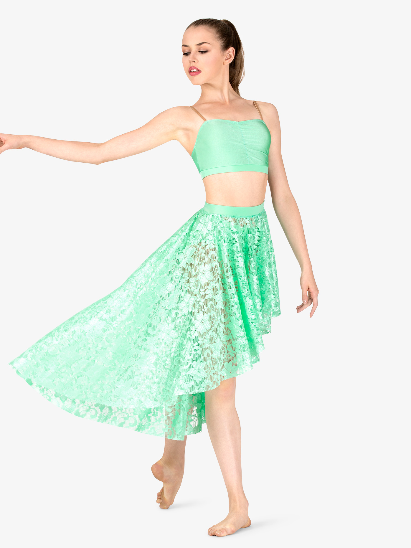 Double Platinum Adult Emballe Lace High-Low Skirt N7262