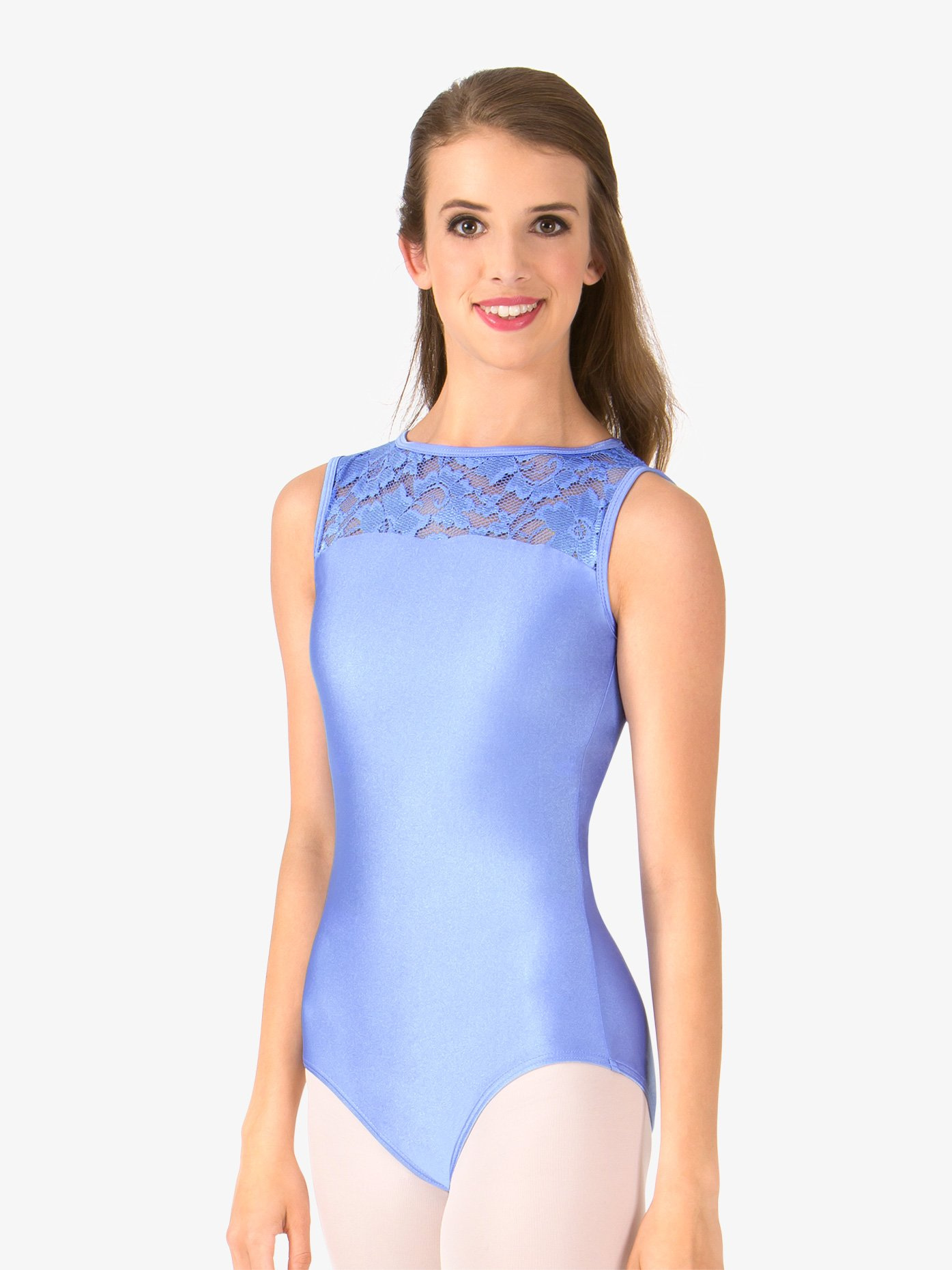 Double Platinum Adult Emballe Lace Boatneck Tank Leotard N7264