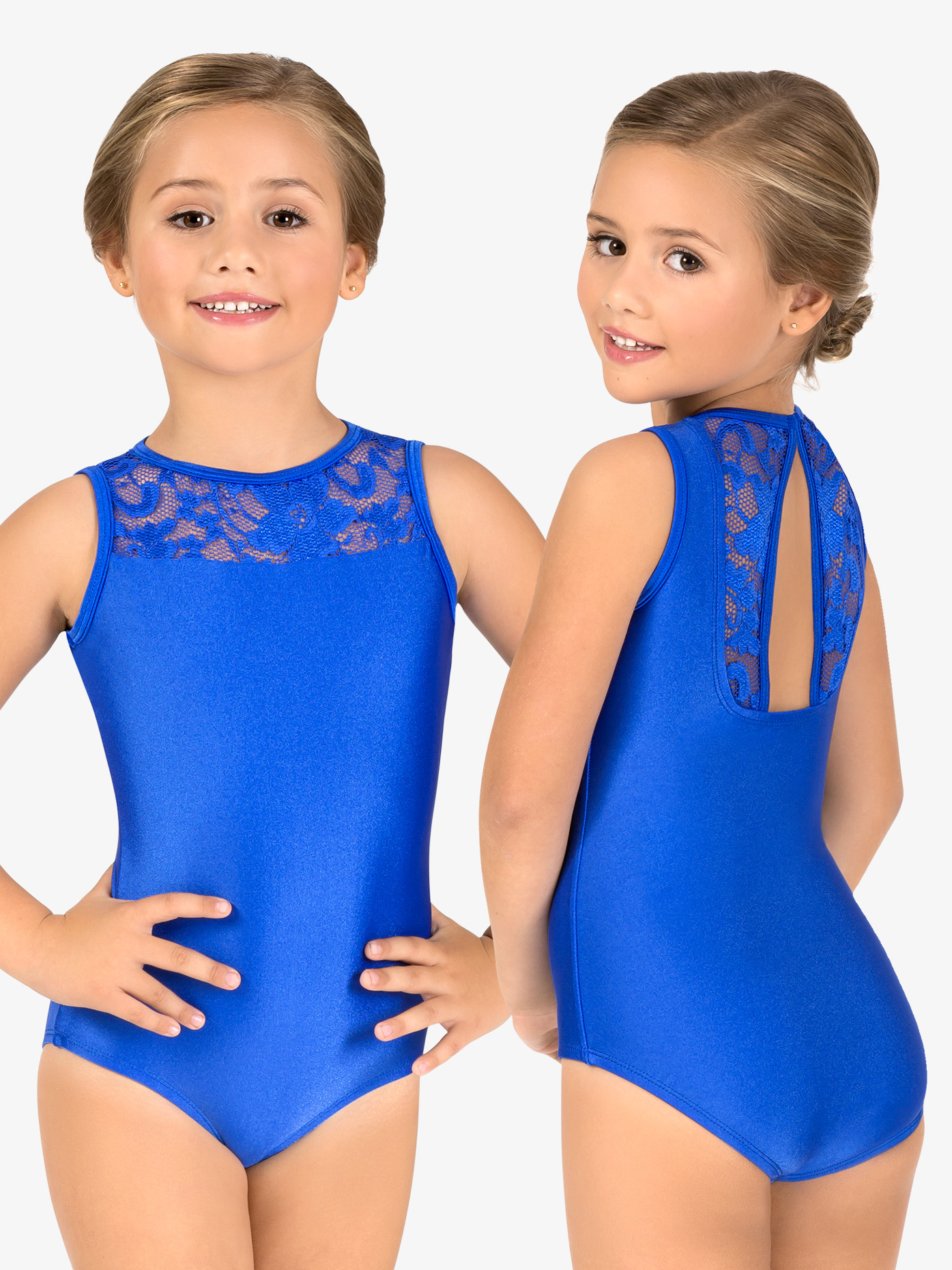 Double Platinum Child Emballe Lace Boatneck Tank Leotard N7264C