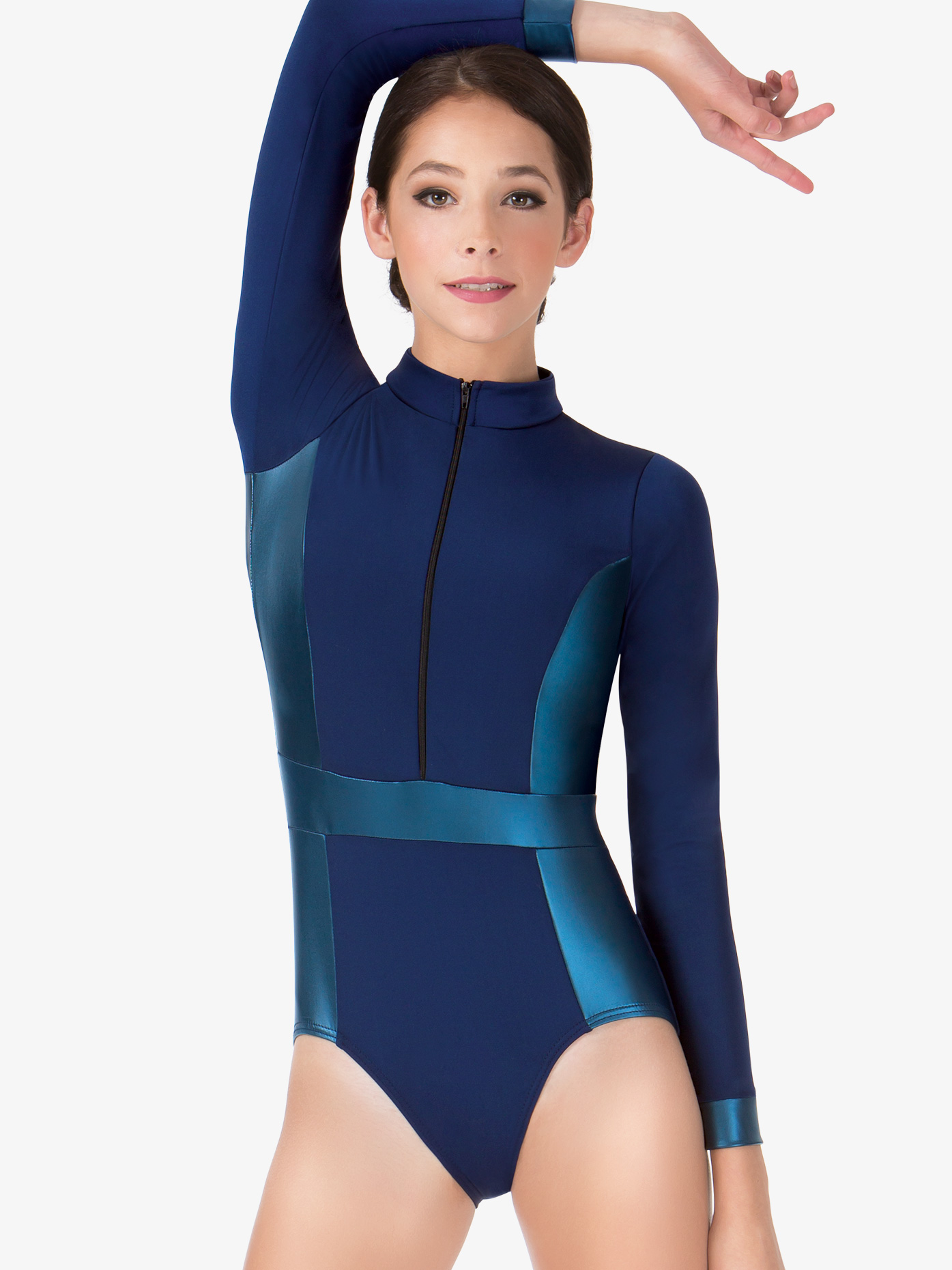 Double Platinum Adult Matte Metallic Mock Neck Long Sleeve Leotard N7279