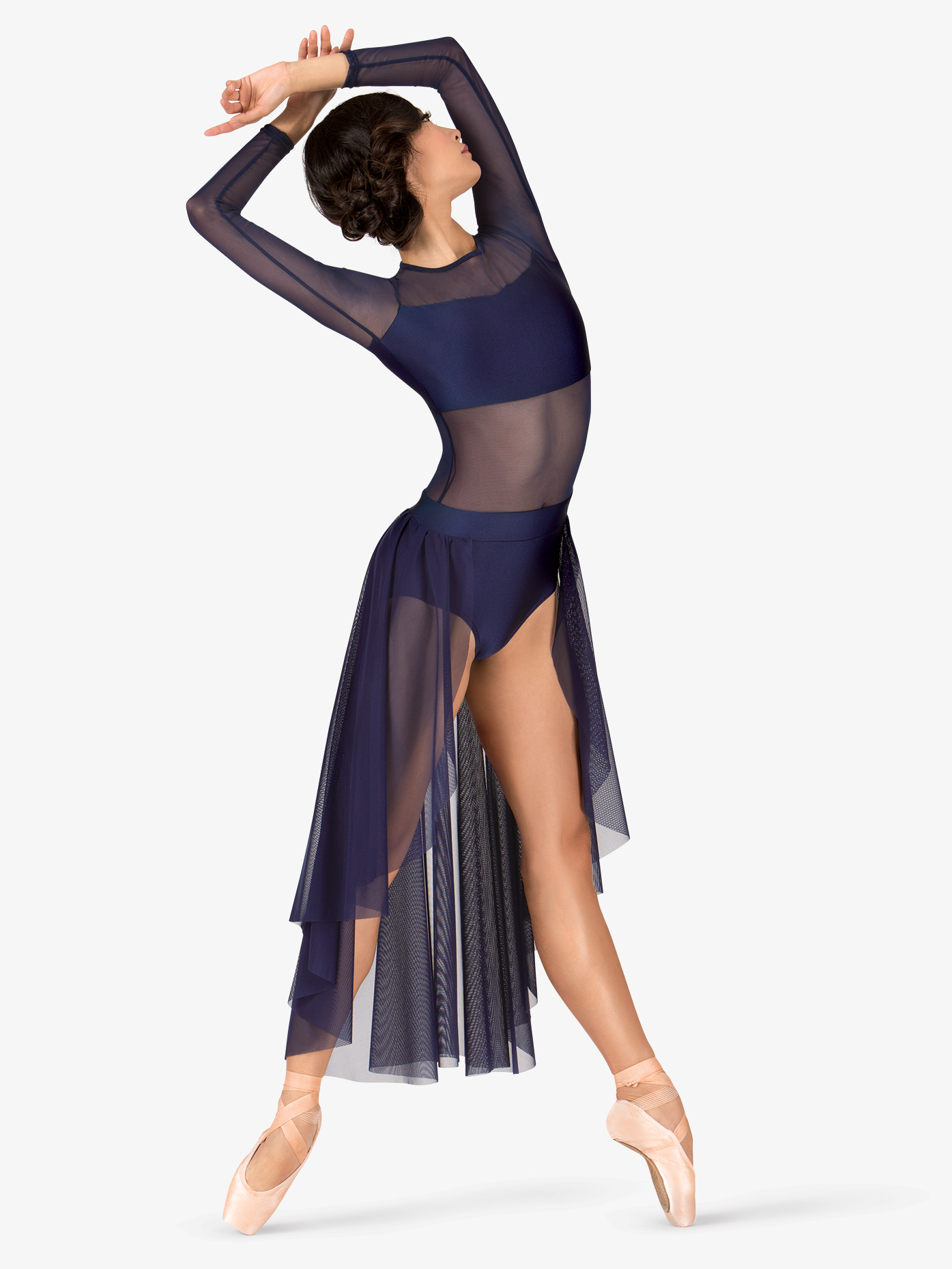 Double Platinum Adult Long Sleeve High-Low Dance Performance Dress N7316