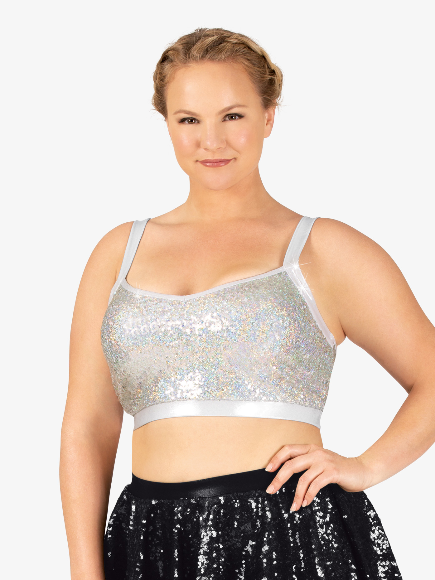 Double Platinum Womens Plus Size Sequin Tank Performance Bra Top N7380P