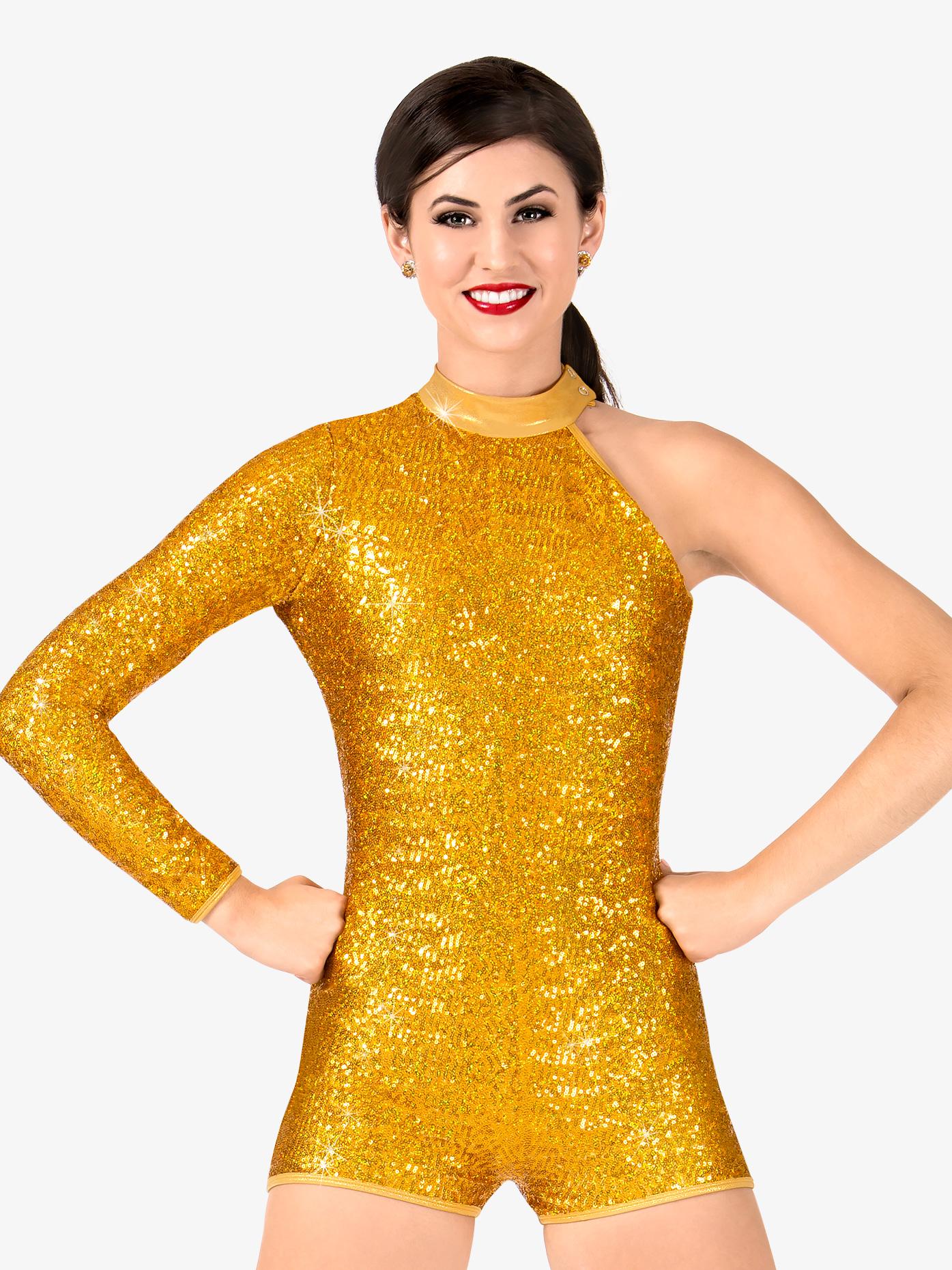 Double Platinum Womens Sequin Asymmetrical Performance Shorty Unitard N7388