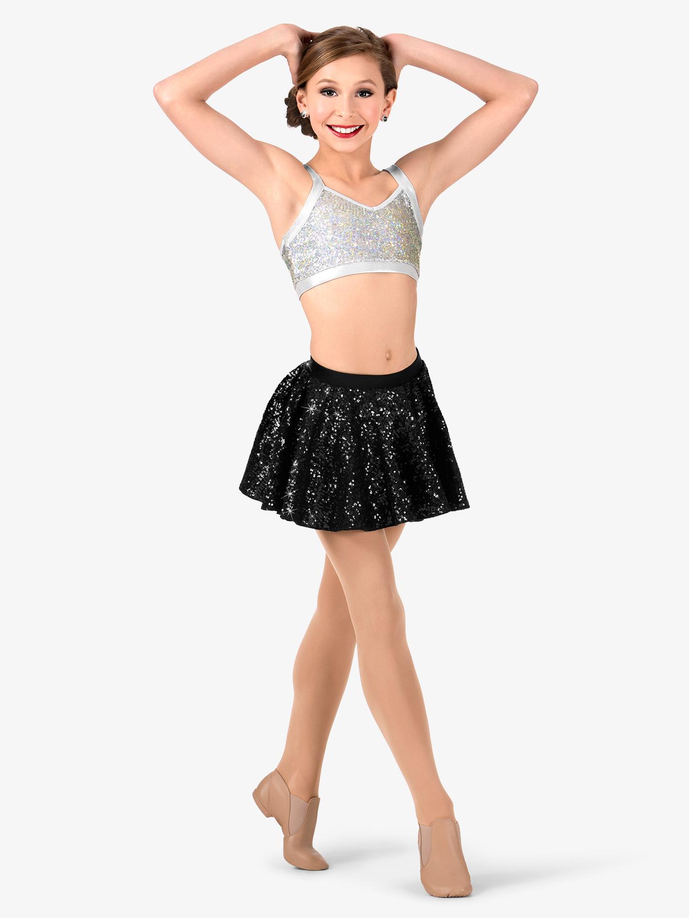 Double Platinum Girls Sequin Skater Performance Skirt N7390C