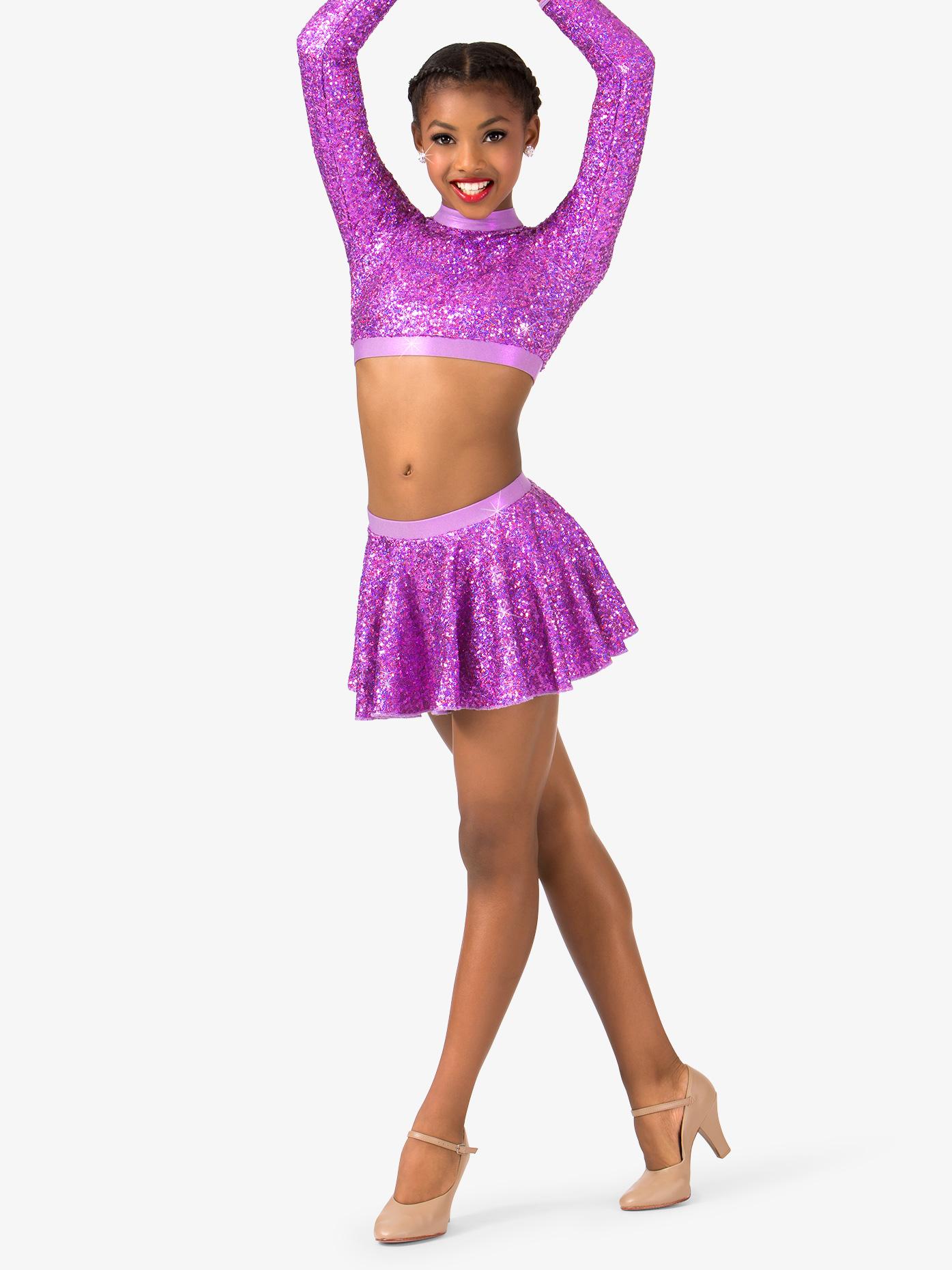 Double Platinum Womens Plus Size Sequin Skater Performance Skirt N7390P