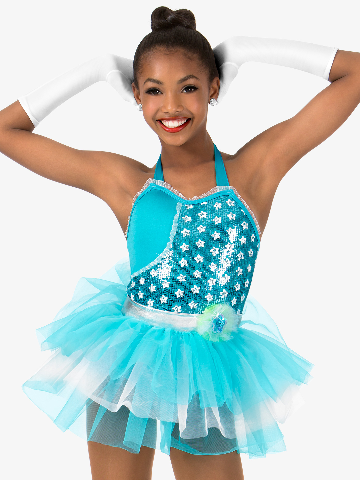 Gracie Girls Sequin Two-Toned Halter Performance Tutu Dress N7404C