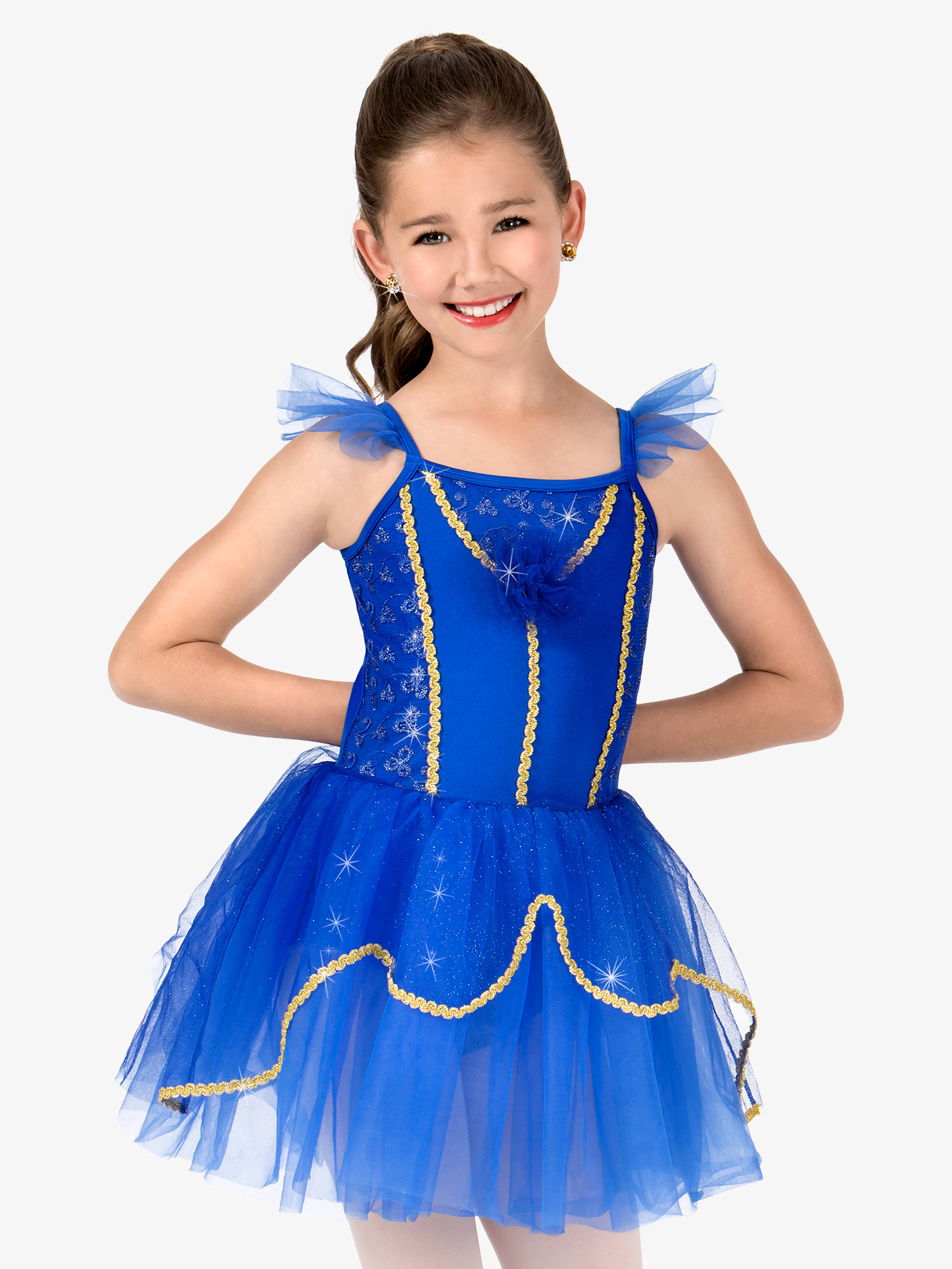Gracie Girls Glitter Mesh Flutter Sleeve Performance Tutu Dress N7406C