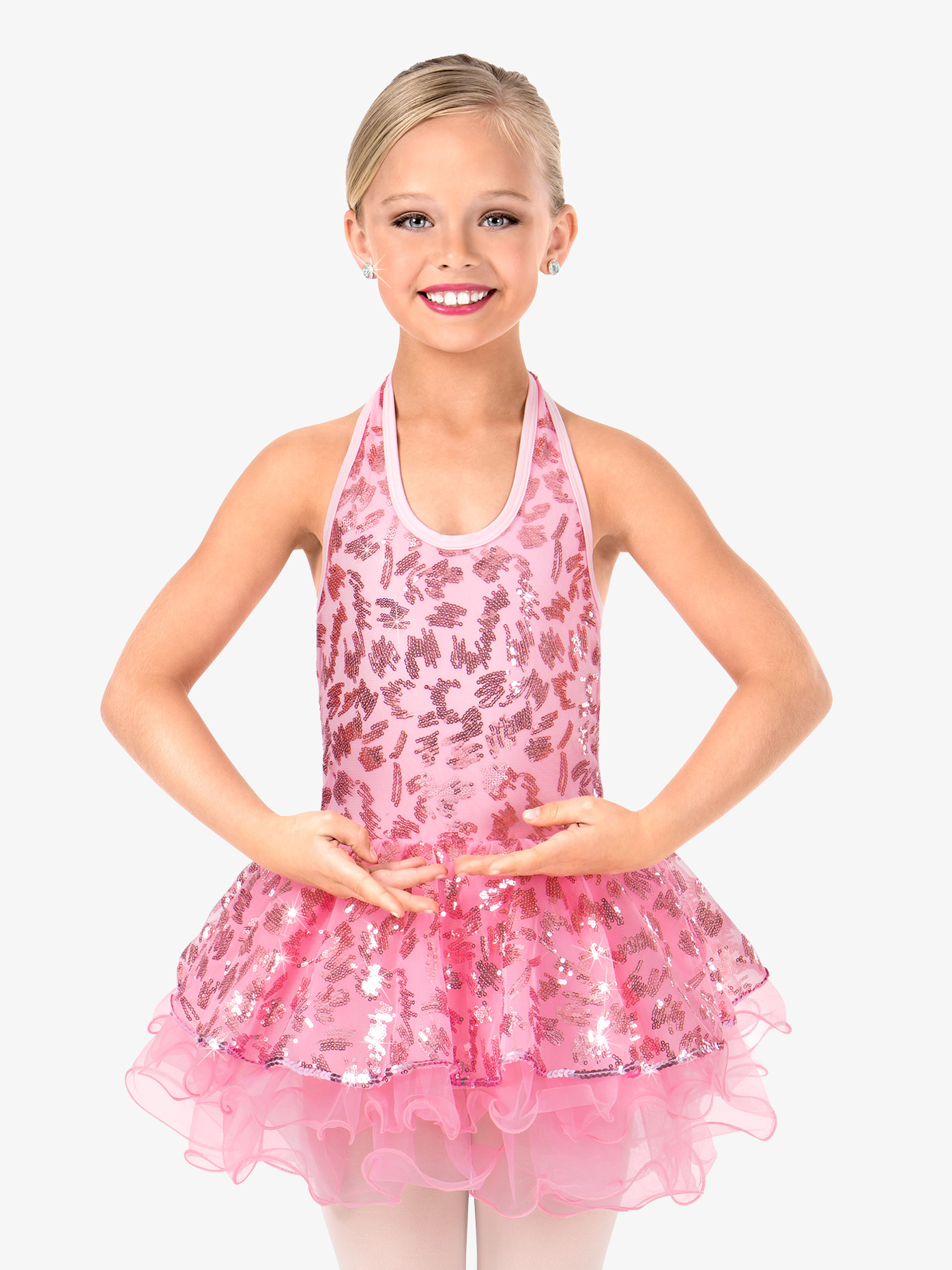 Gracie Girls Sequin Scribble Halter Performance Tutu Dress N7451C