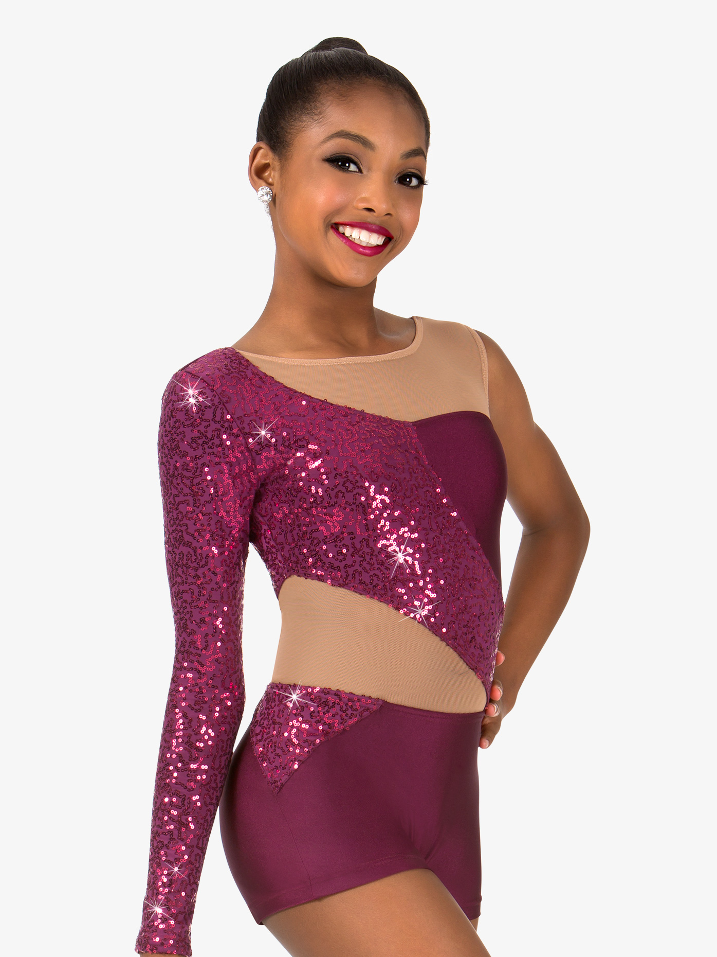 Elisse by Double Platinum Girls Asymmetrical Sequin Jazz Shorty Unitard N7456C