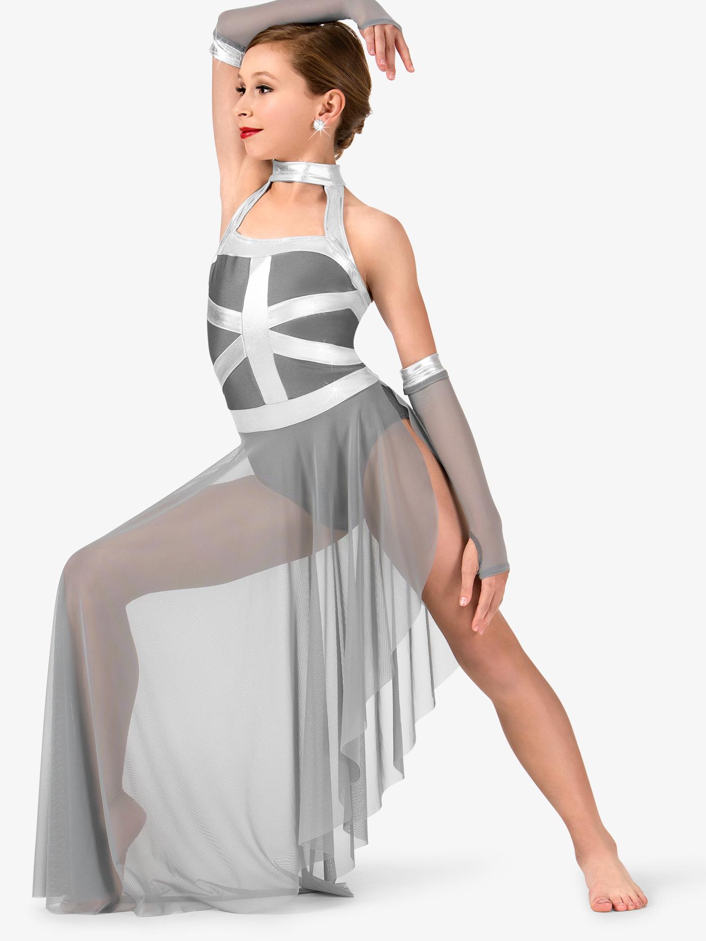 Elisse by Double Platinum Girls Asymmetrical Tank Performance Dress Set N7462C