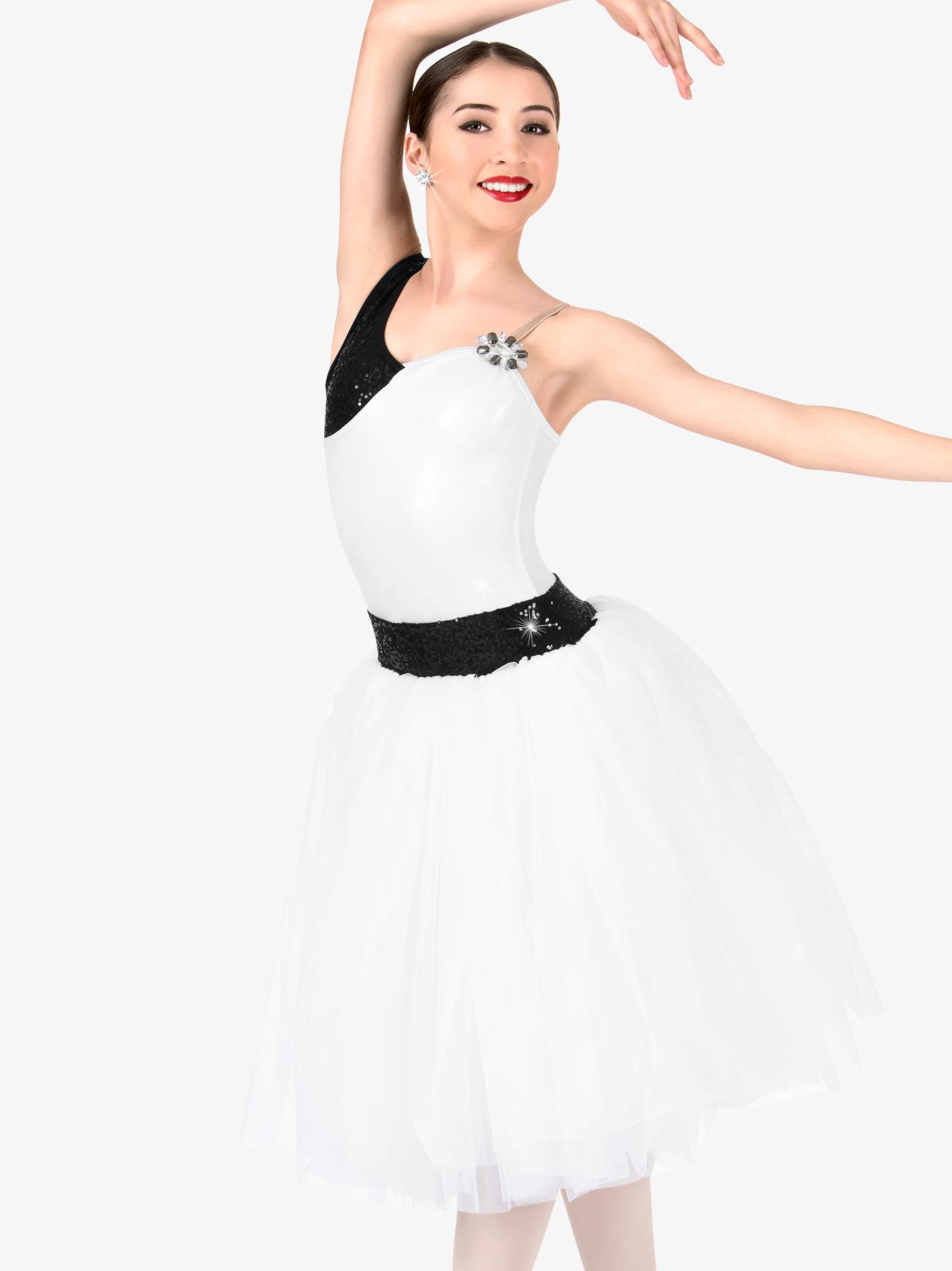 Elisse by Double Platinum Womens Plus Size One Shoulder Romantic Tutu Costume Dress N7464P