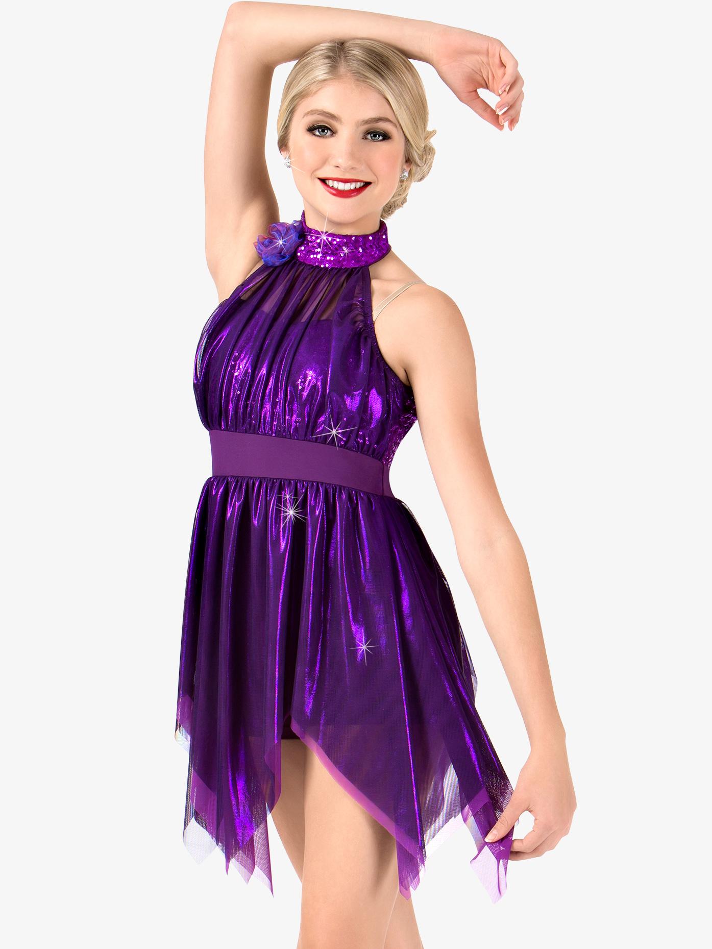 Elisse by Double Platinum Womens Metallic High Neck Handkerchief Performance Dress N7465