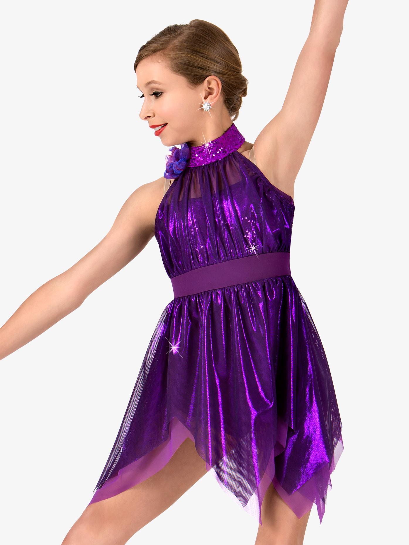 Elisse by Double Platinum Girls Metallic High Neck Handkerchief Performance Dress N7465C
