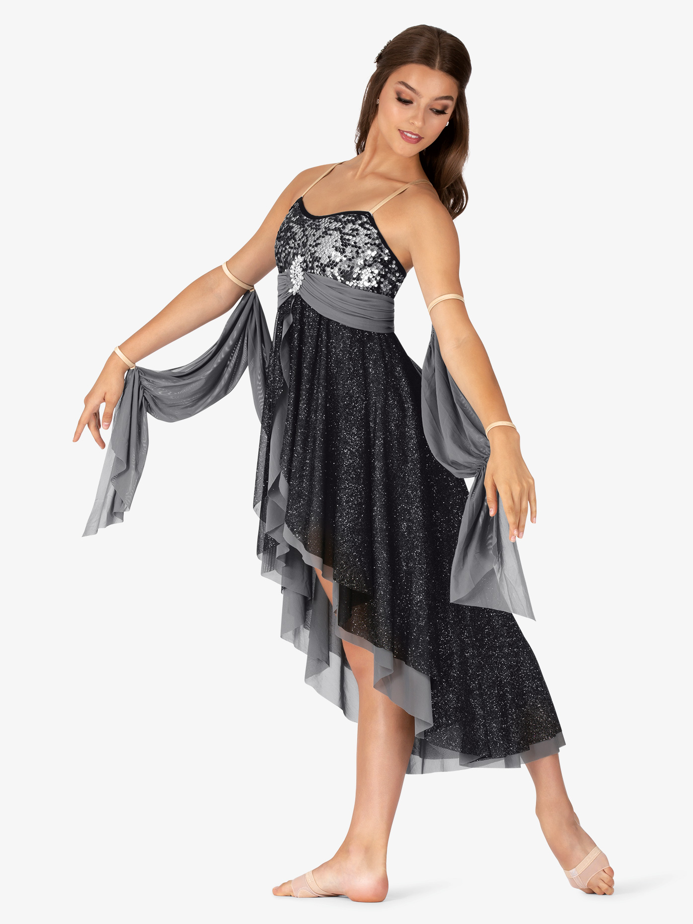 Elisse by Double Platinum Womens Glitter Mesh High-Low Camisole Lyrical Dress N7468