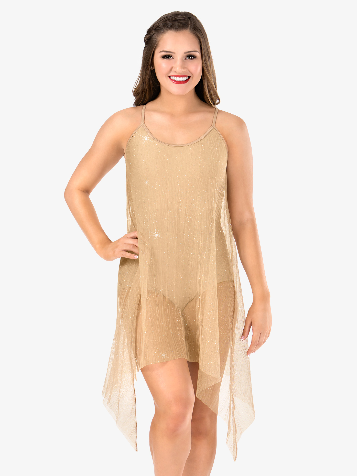 Elisse by Double Platinum Womens Glitter Mesh Camisole Performance Dress N7473