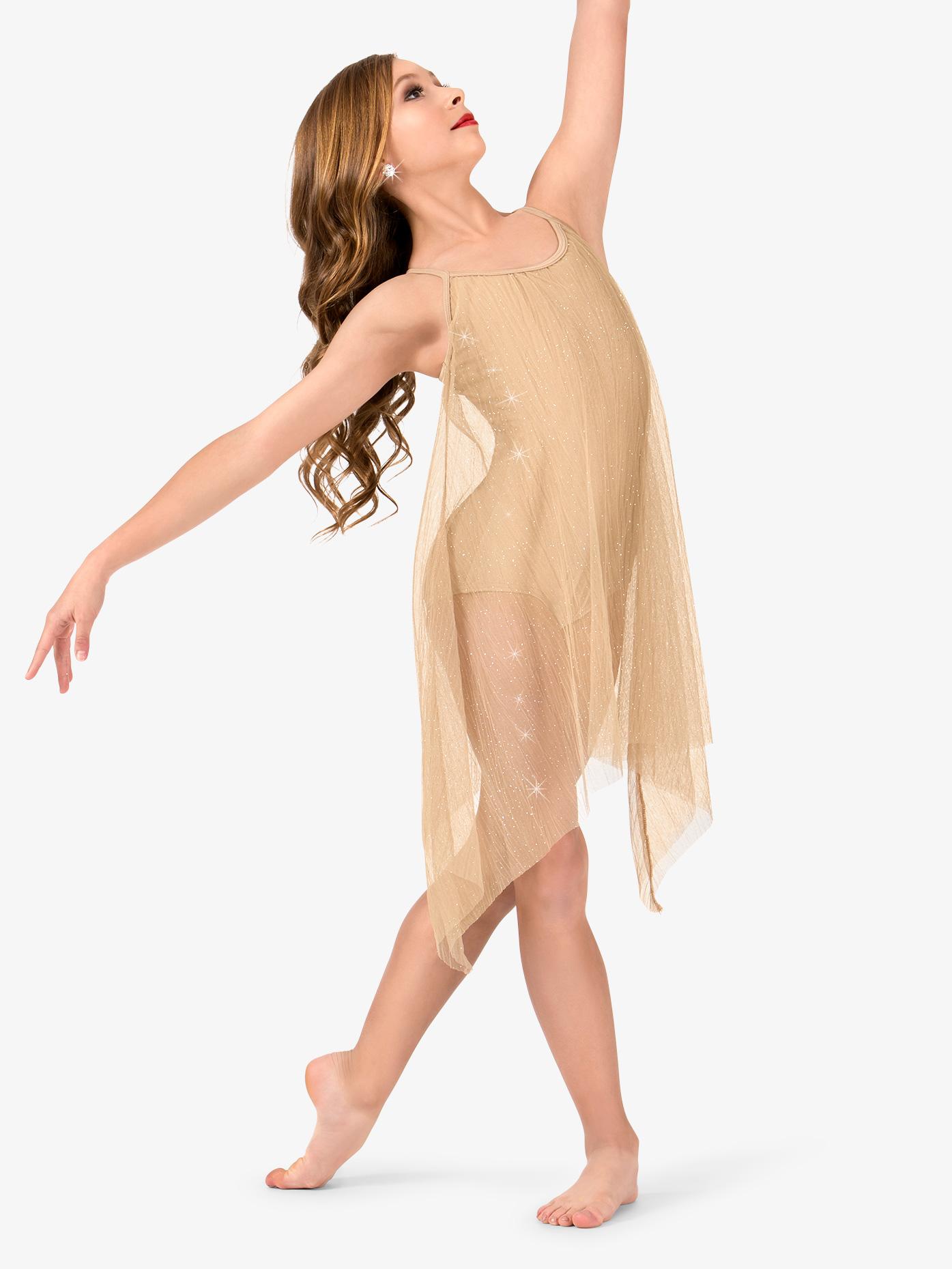 Elisse by Double Platinum Girls Glitter Mesh Camisole Performance Dress N7473C