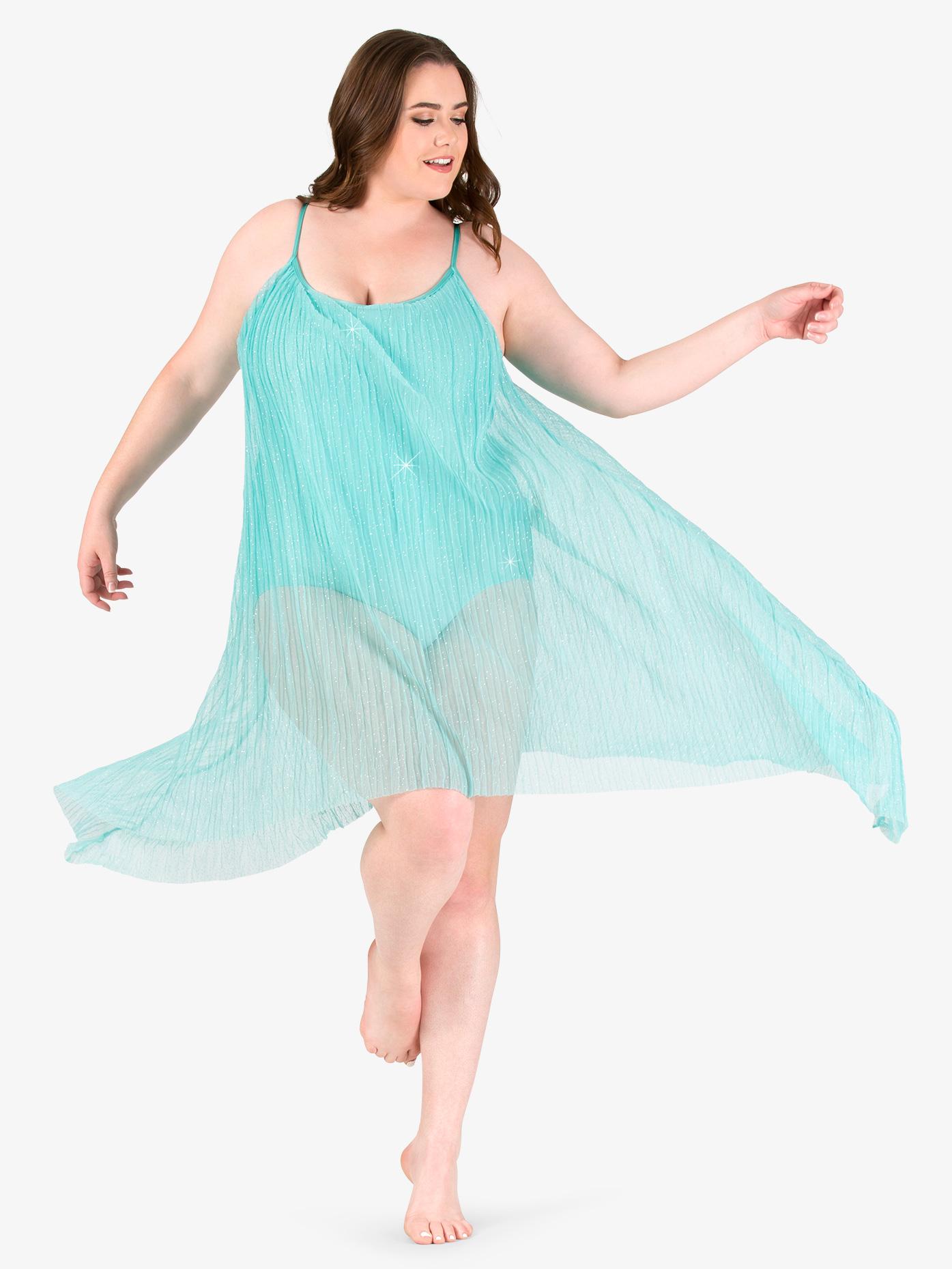 Elisse by Double Platinum Womens Plus Size Glitter Mesh Camisole Performance Dress N7473P