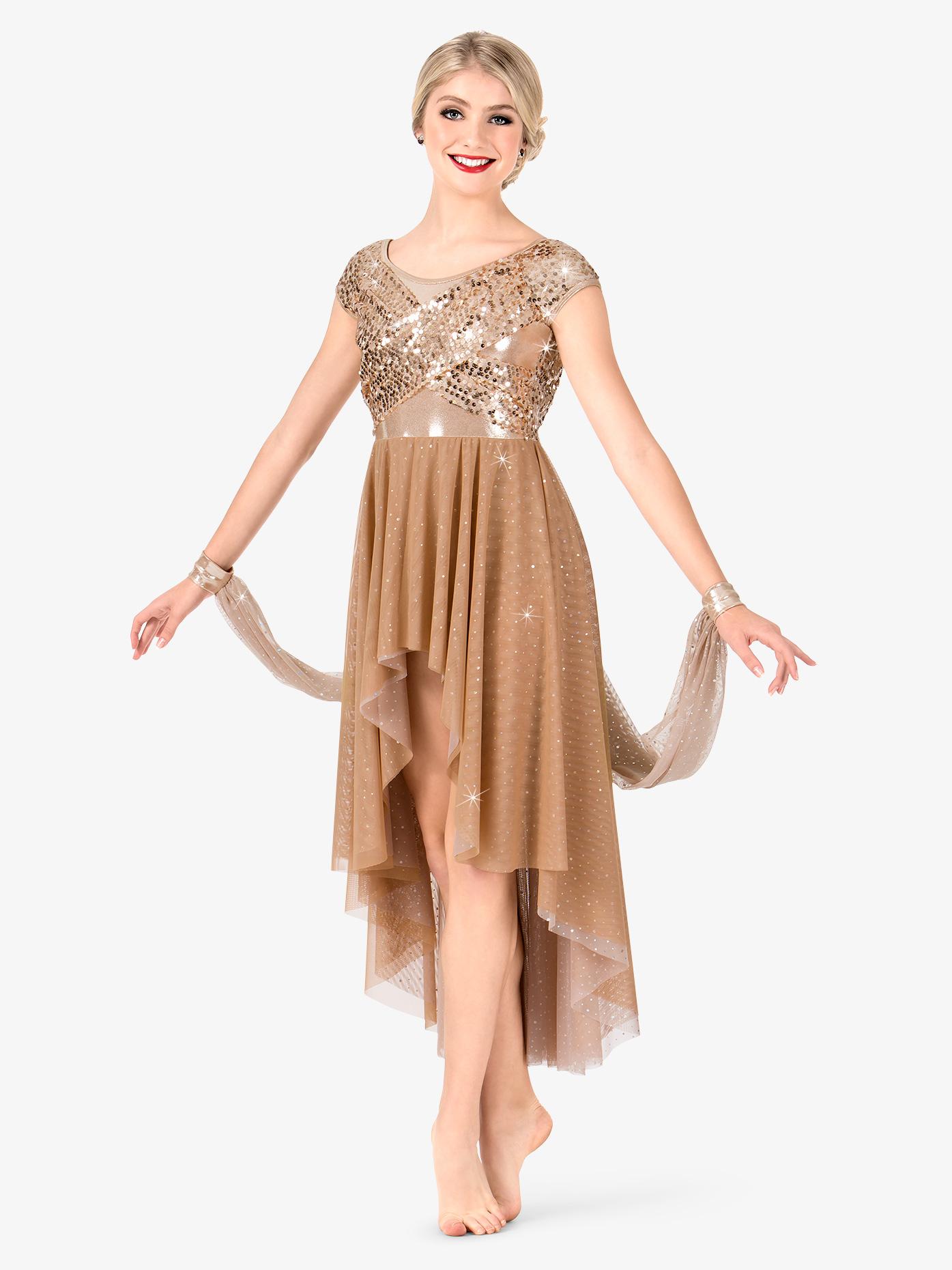 Elisse by Double Platinum Womens Plus Size Sequin High-Low Performance Dress N7474P