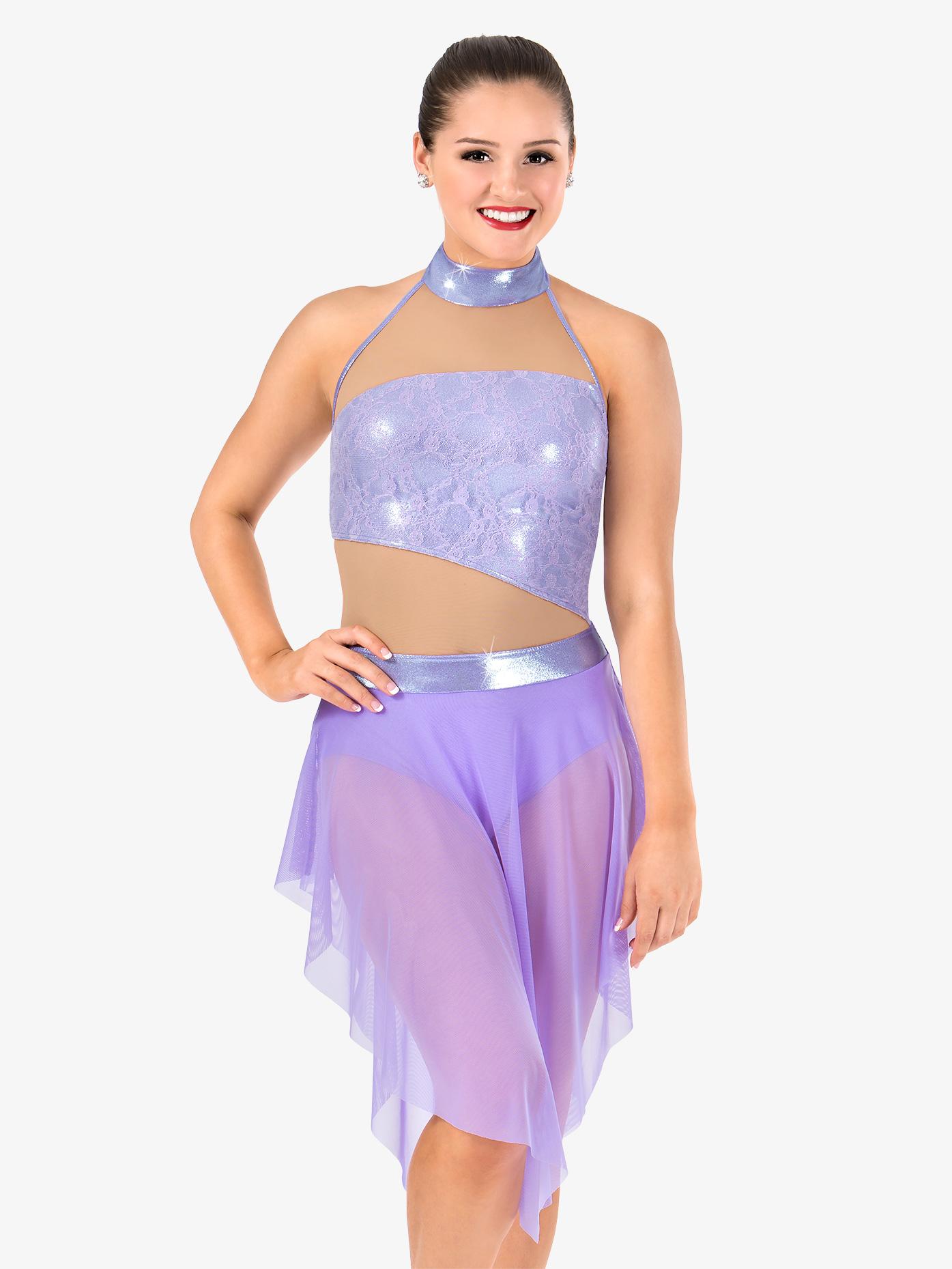 Elisse by Double Platinum Womens High Neck Metallic Lyrical Dress N7476