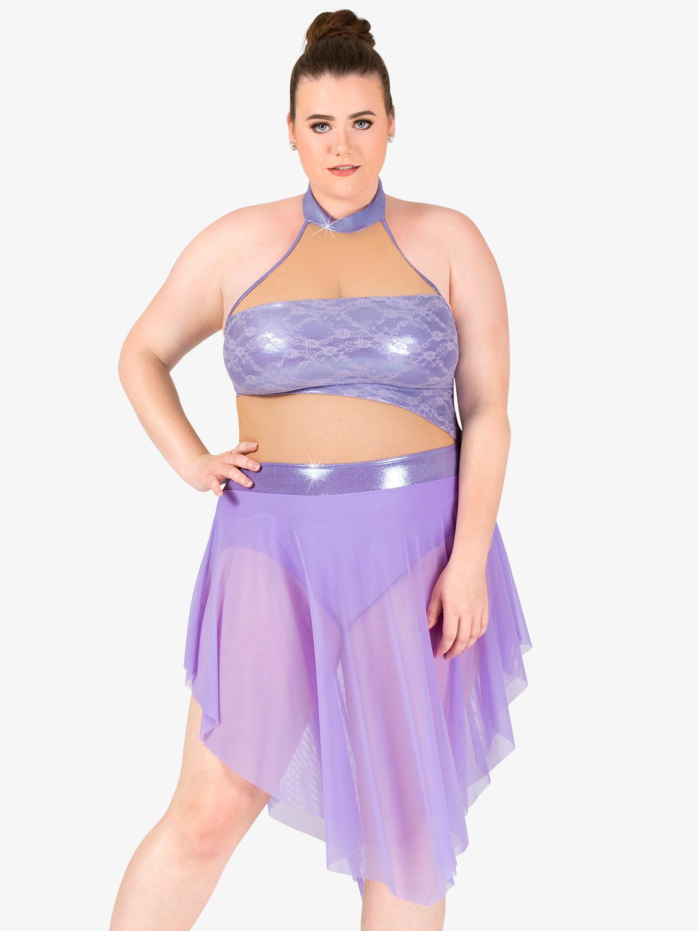 Elisse by Double Platinum Womens Plus Size High Neck Metallic Lyrical Dress N7476P