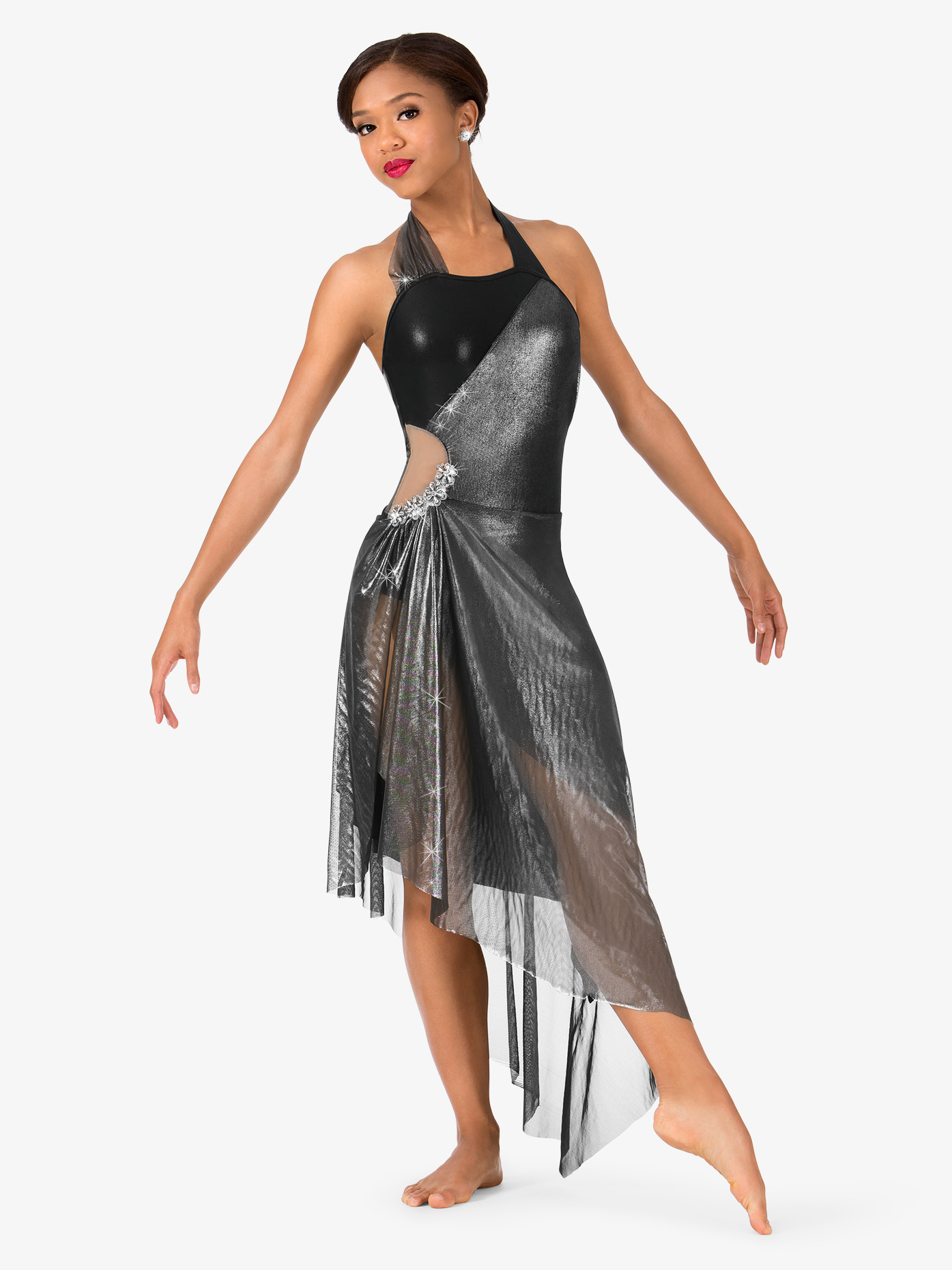 Elisse by Double Platinum Womens Metallic Asymmetrical Halter Performance Dress N7477