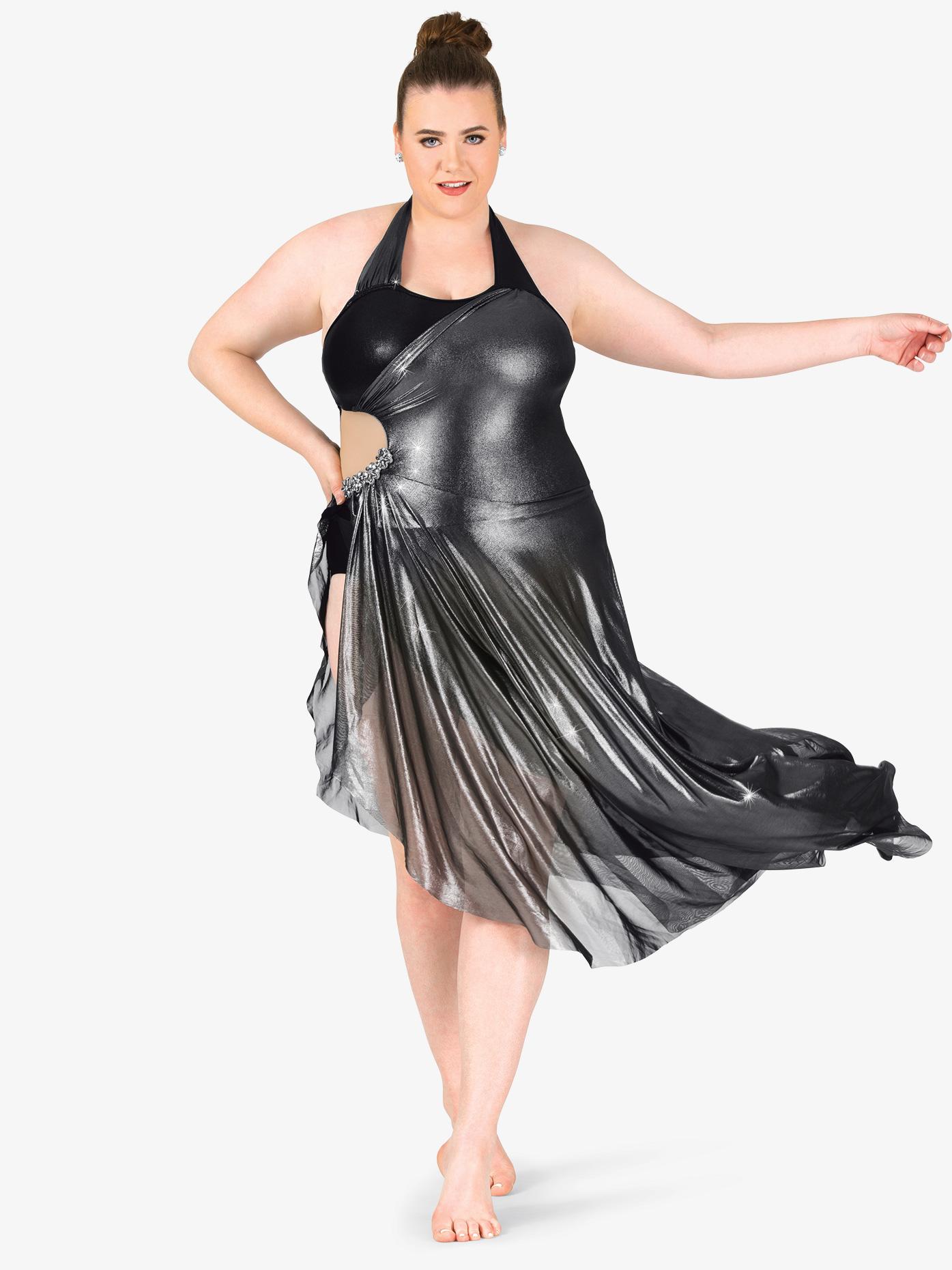 Elisse by Double Platinum Womens Plus Size Metallic Asymmetrical Halter Performance Dress N7477P