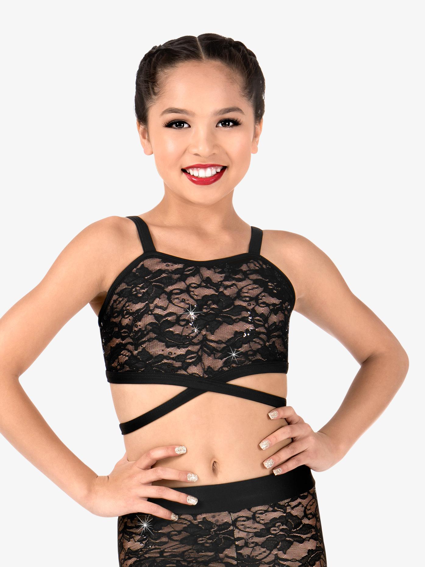Elisse by Double Platinum Girls Crisscross Camisole Dance Bra Top N7488C
